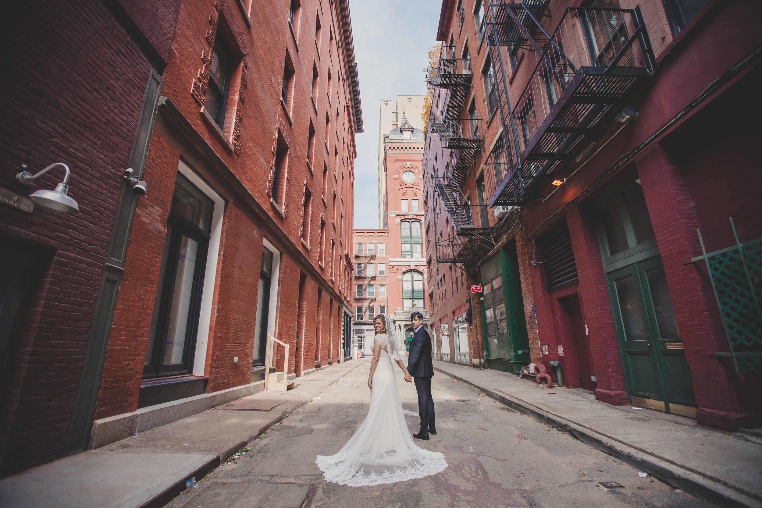 colorful urban wedding