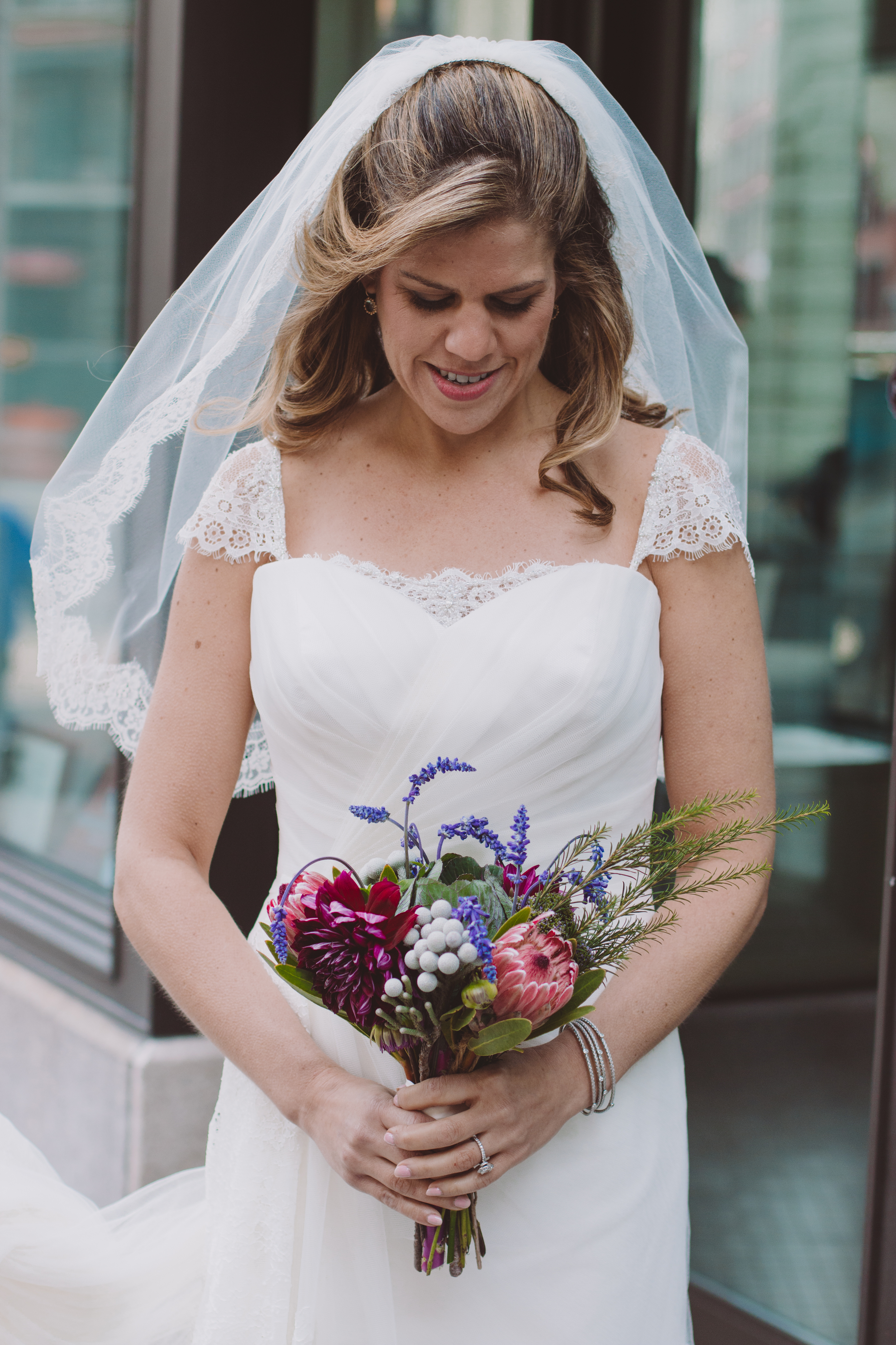 beautiful bride and bouquet in tribeca wedding photography