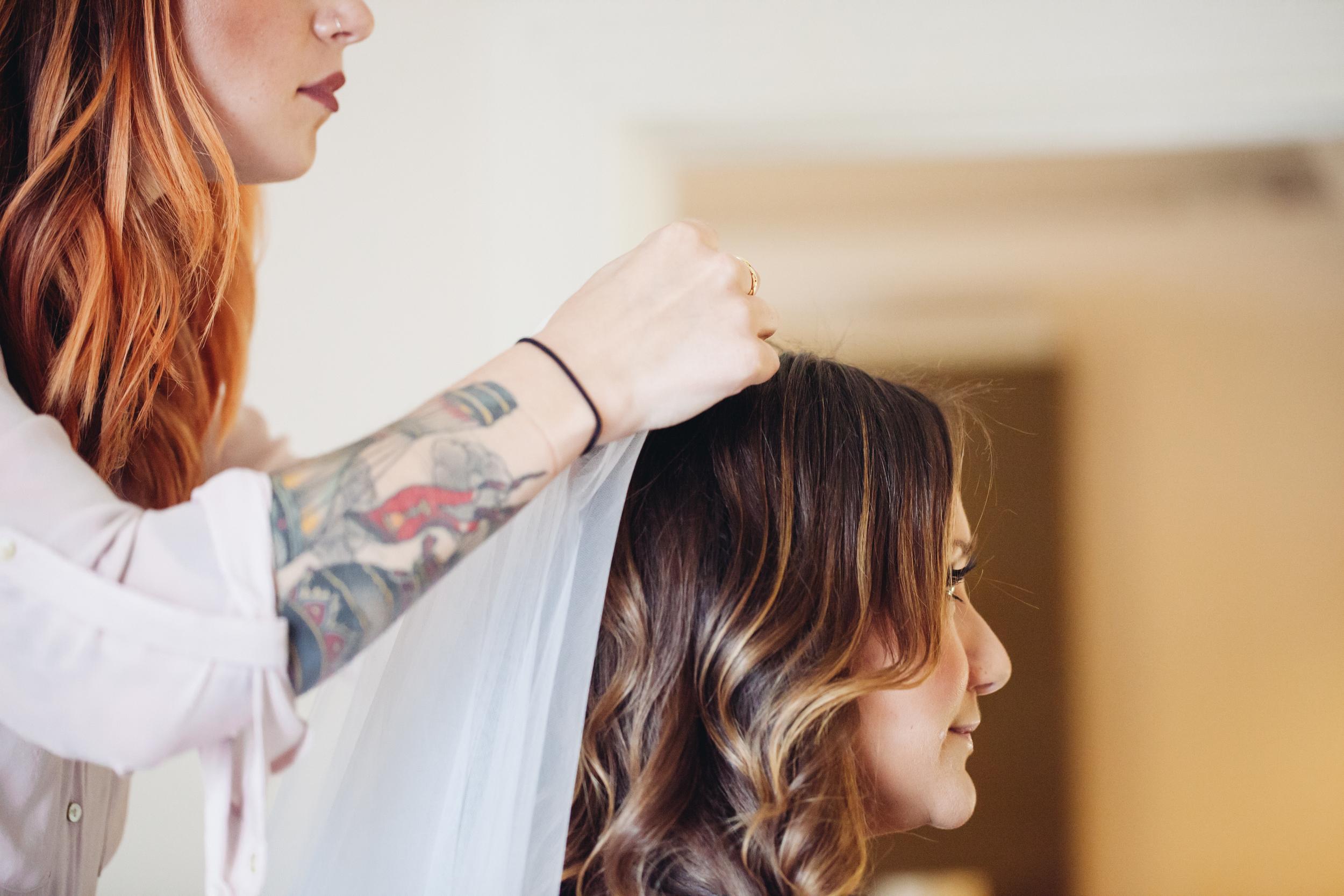 bride in hair