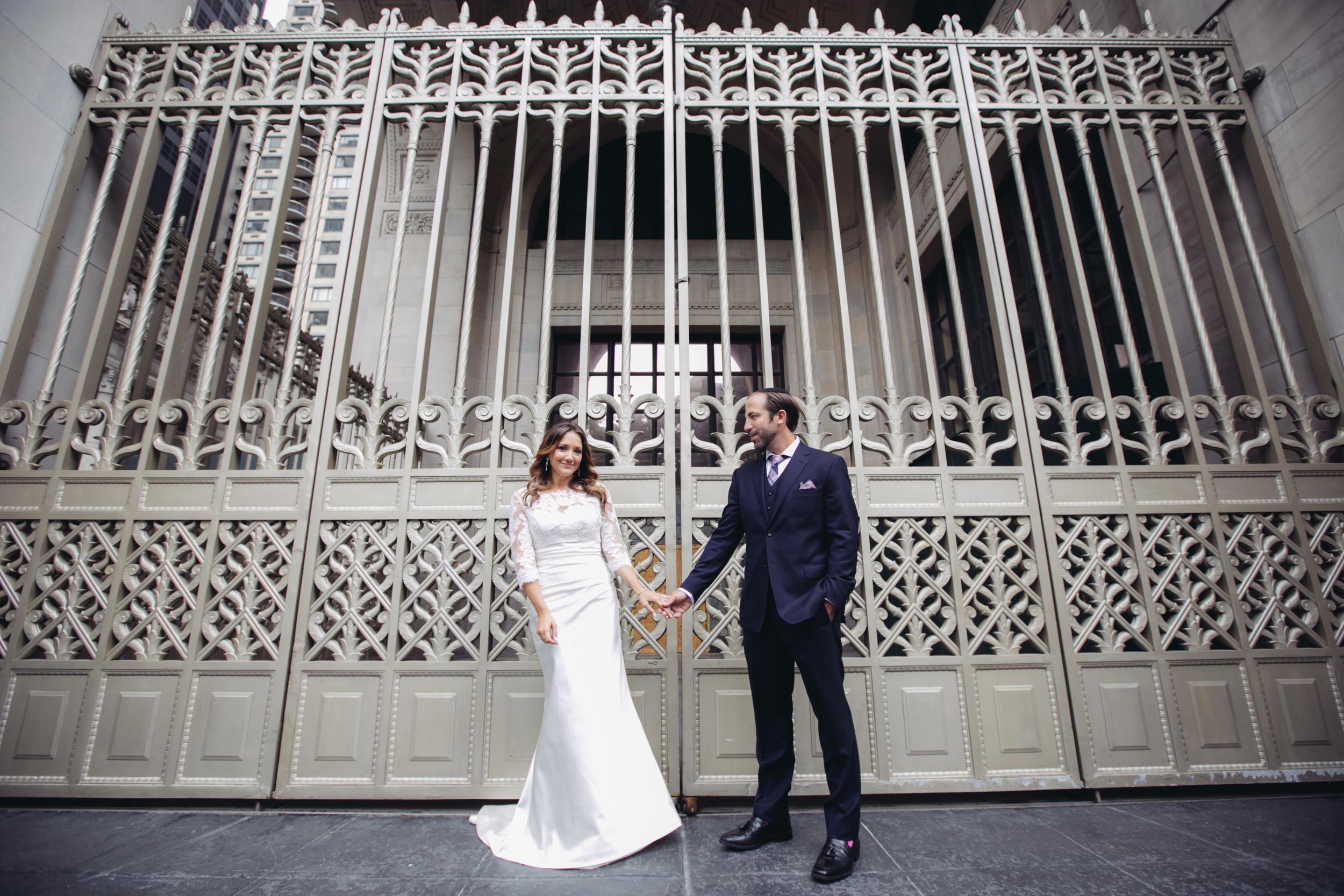 bride and groom in midtown