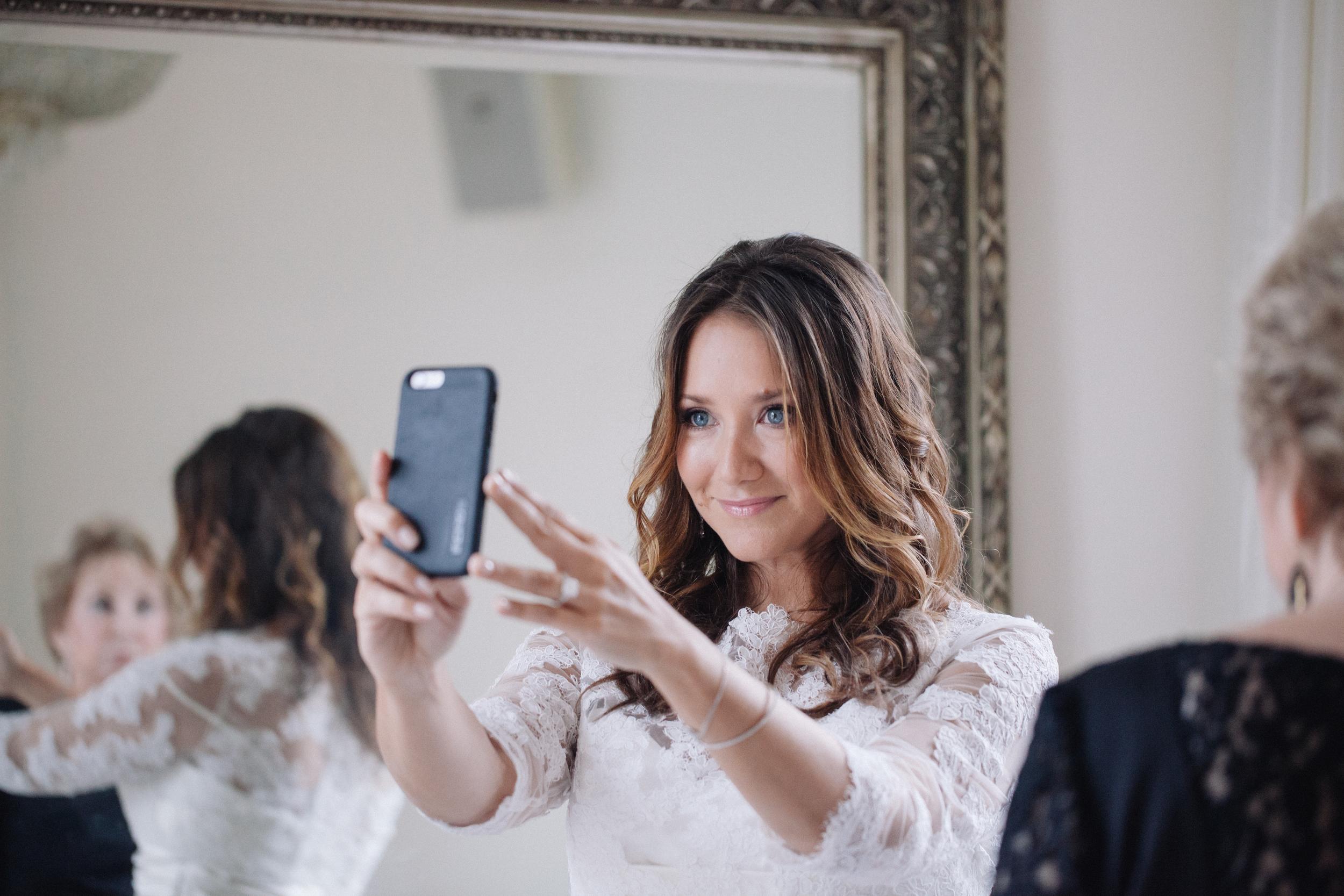 bride taking selfie