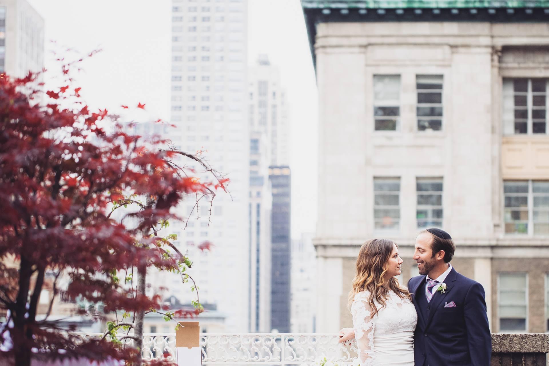 midtown loft and terrace wedding couple