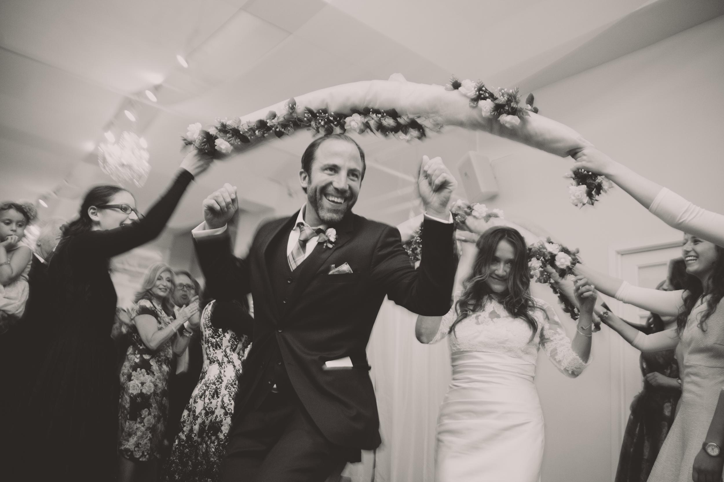 fun entrance bride and groom