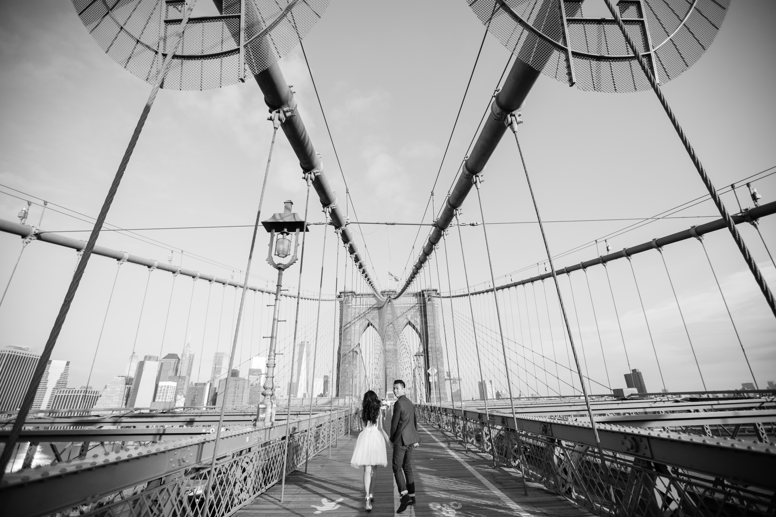 black and white Brooklyn bridge photography