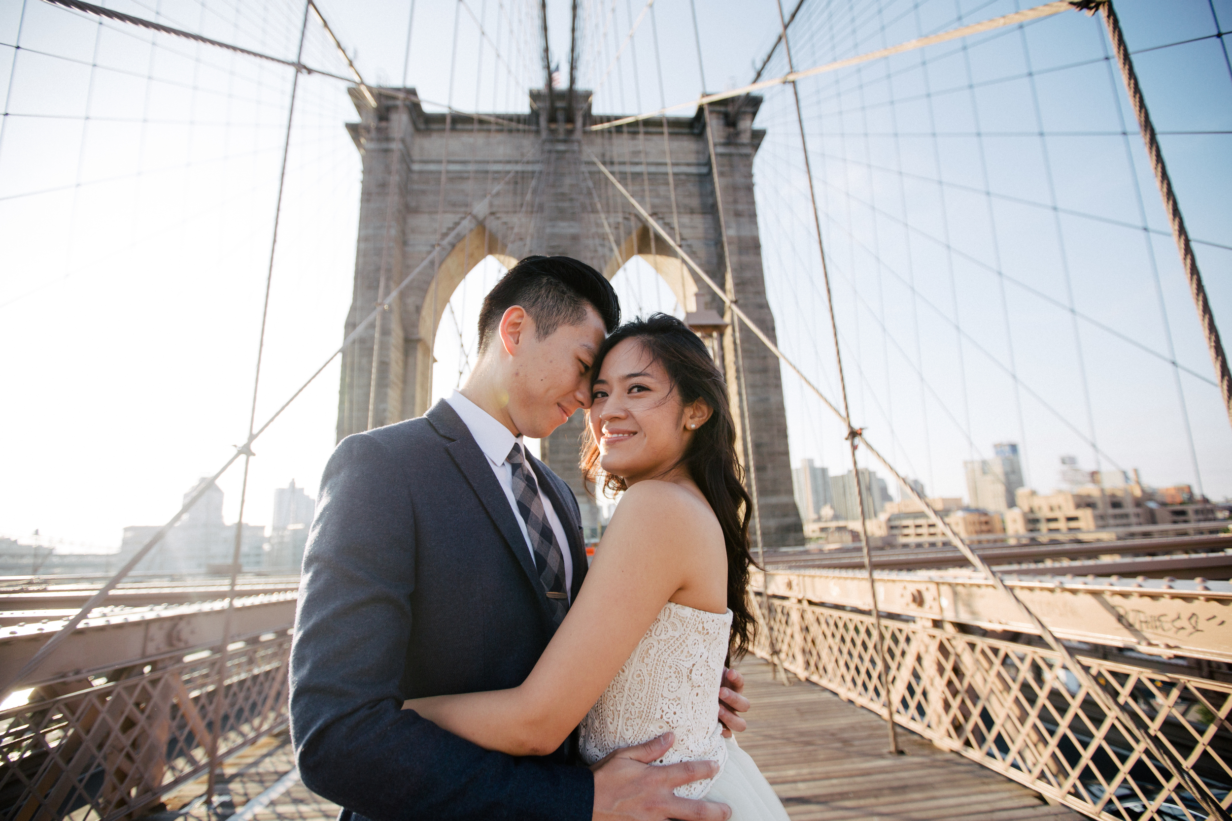 lovely groom and bride on Brooklyn bridge