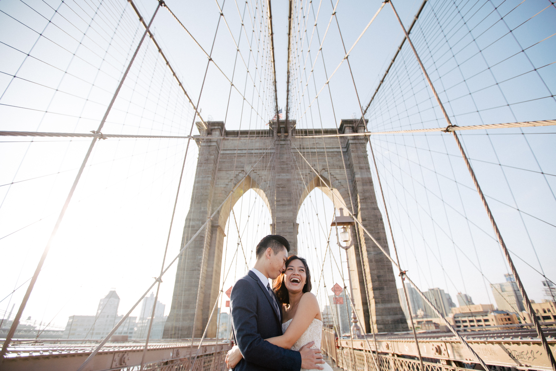 vintage sunrise engagement photoshoot Brooklyn dumbo