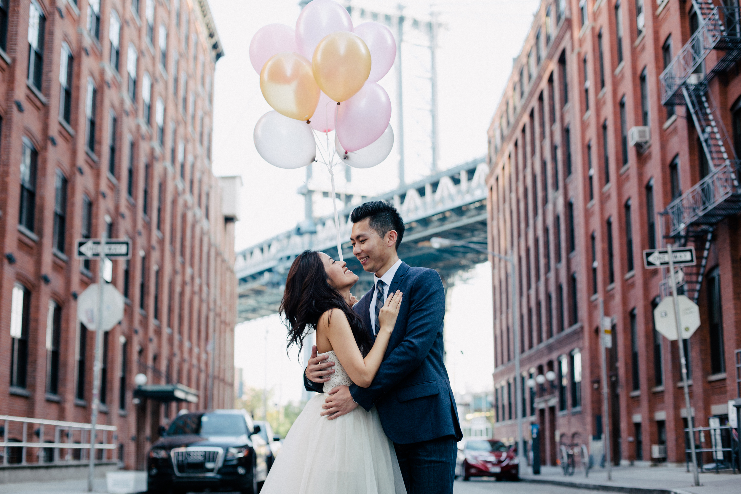 cute couple in dumbo urban shoot