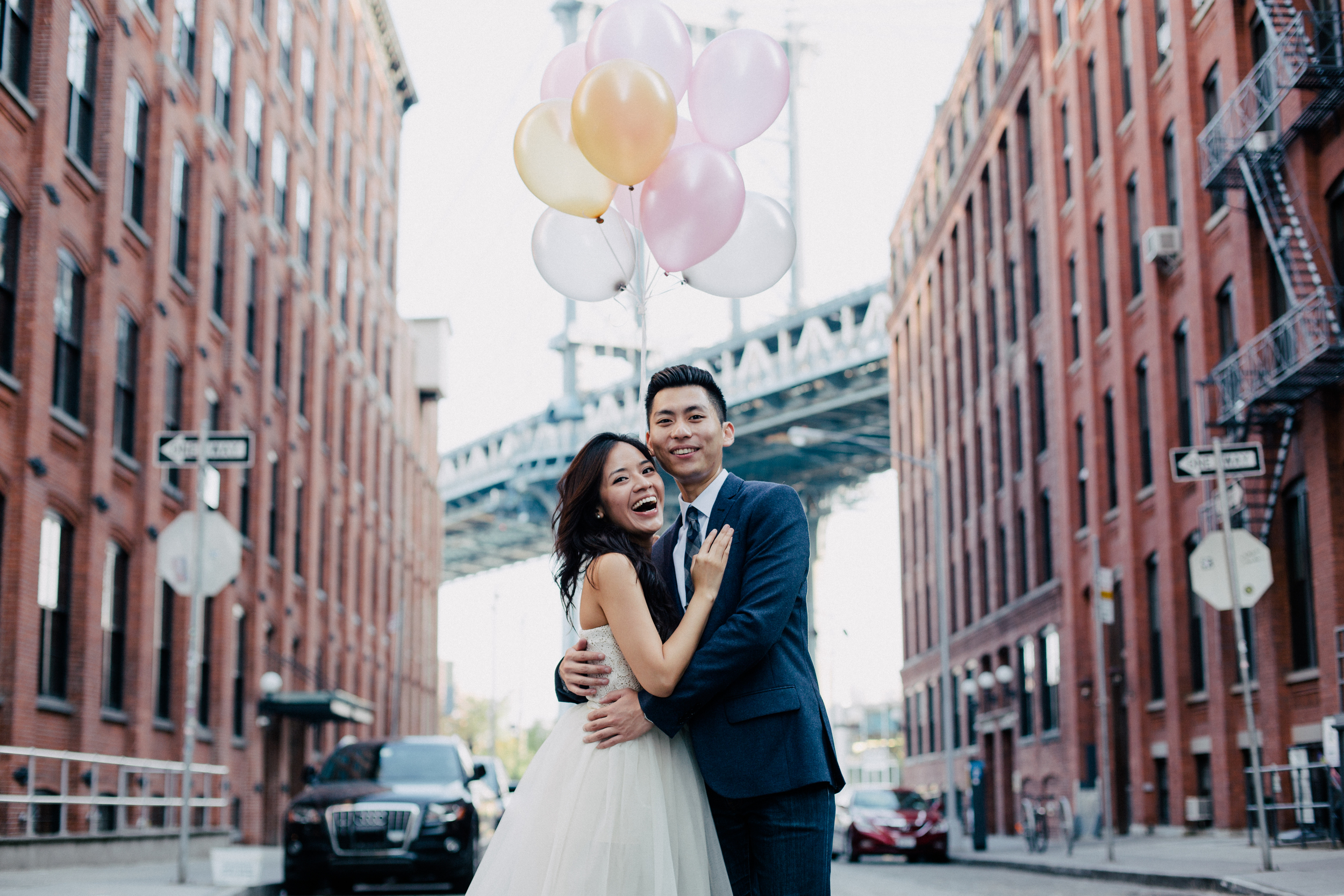 fun vibrant couple in Brooklyn nyc engaged