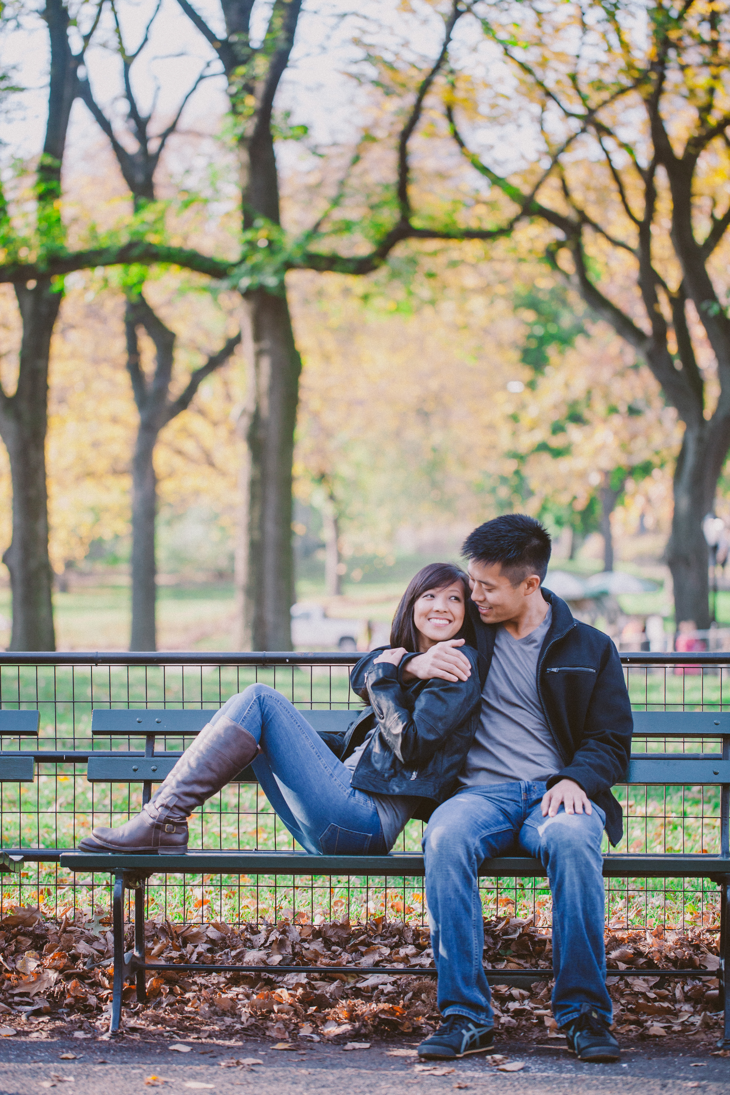 engagement photos in central park during fall season