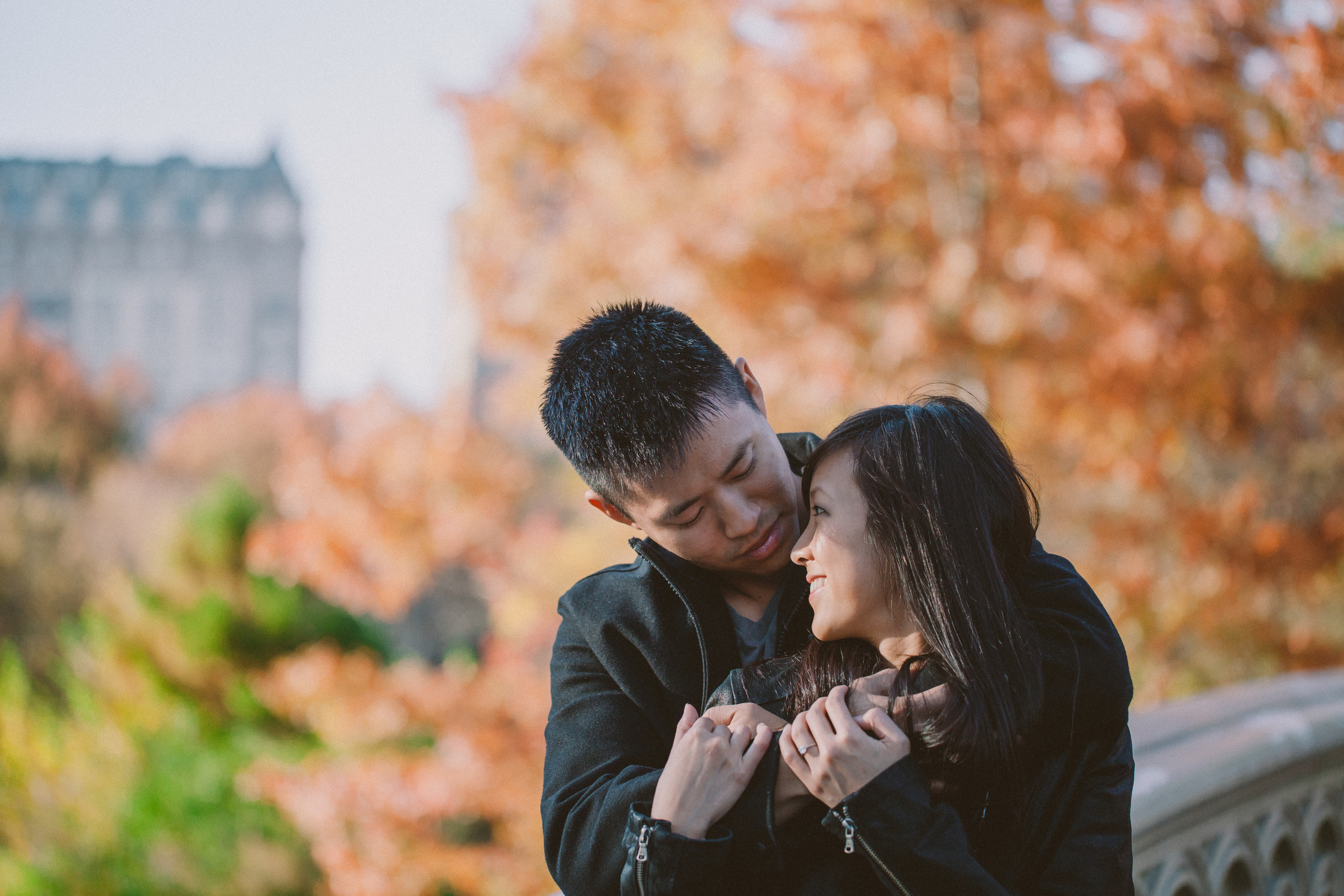 leather jackets fall engagement photography nyc