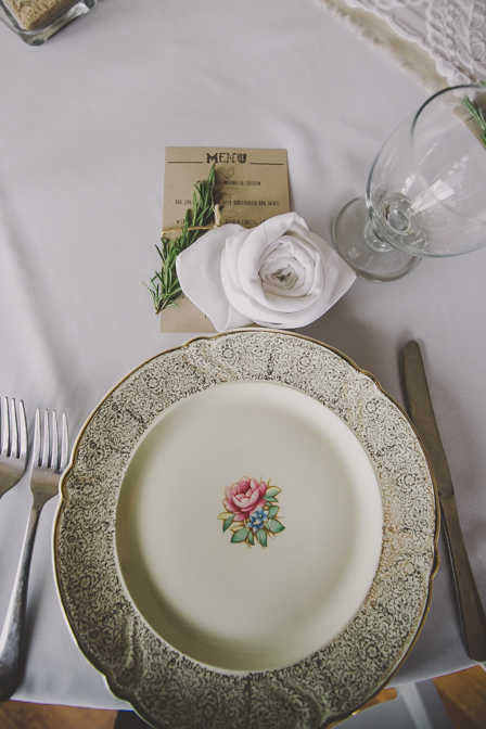 charming vintage plate at wedding