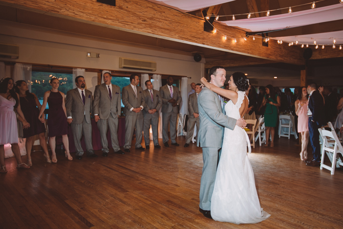 beautiful moment during first dance at bride and groom wedding