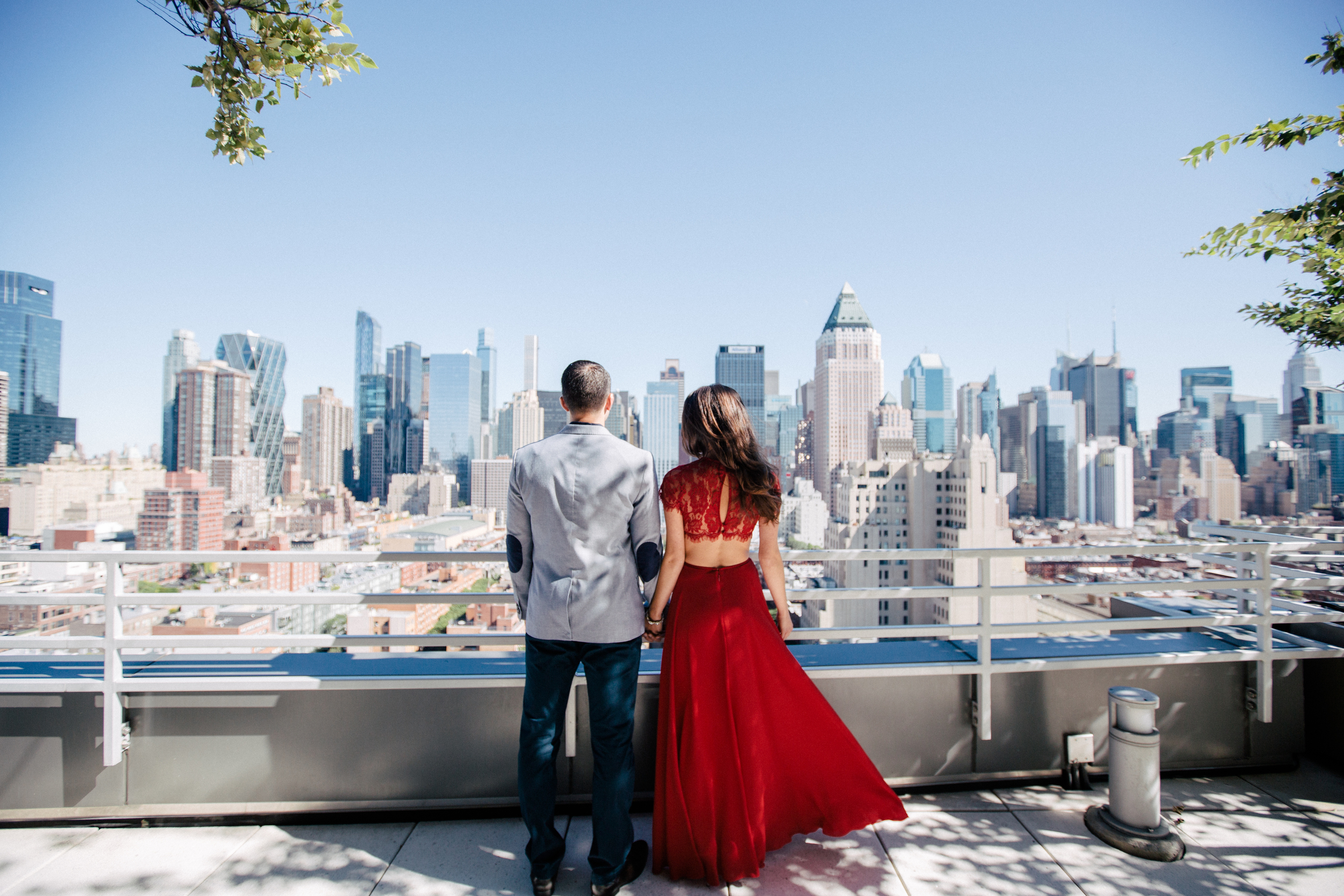 classy rooftop engagement photos nyc