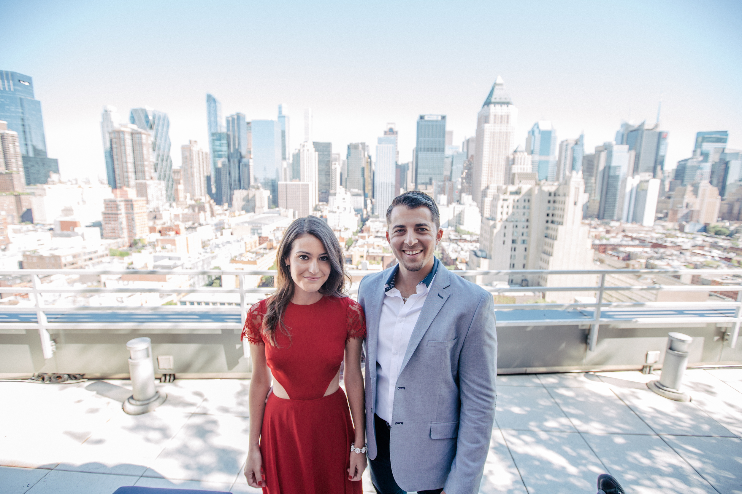 nyc skyline rooftop engagement photos