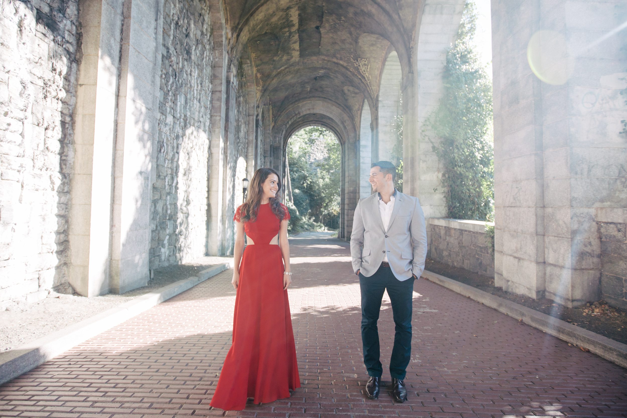 red dress engagement session