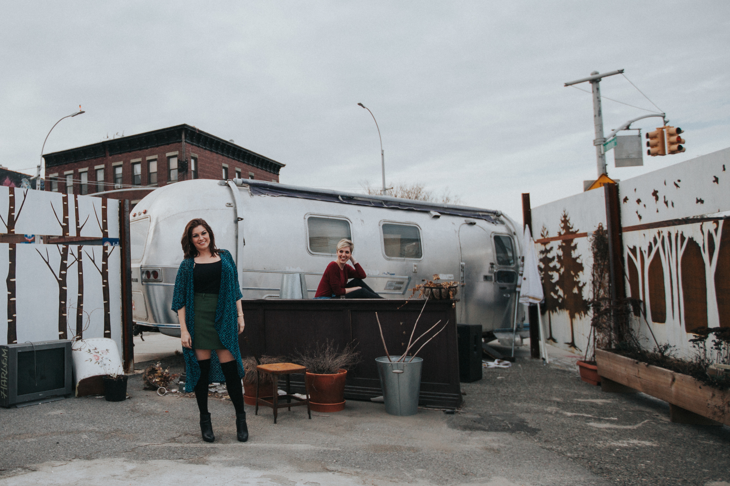 models in front of trailer Brooklyn ny