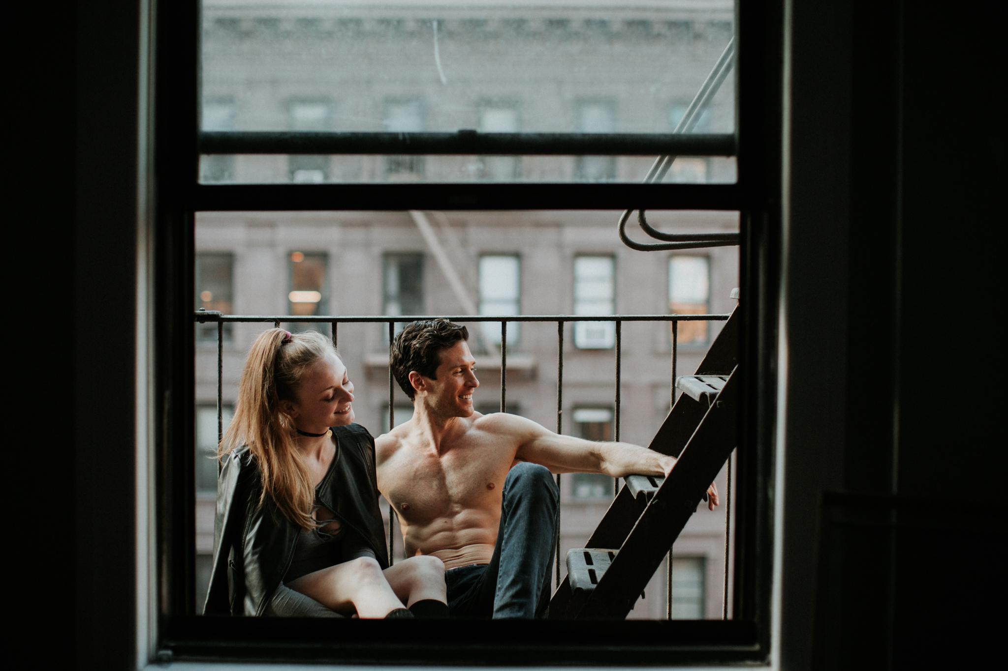 couple on nyc fire escape