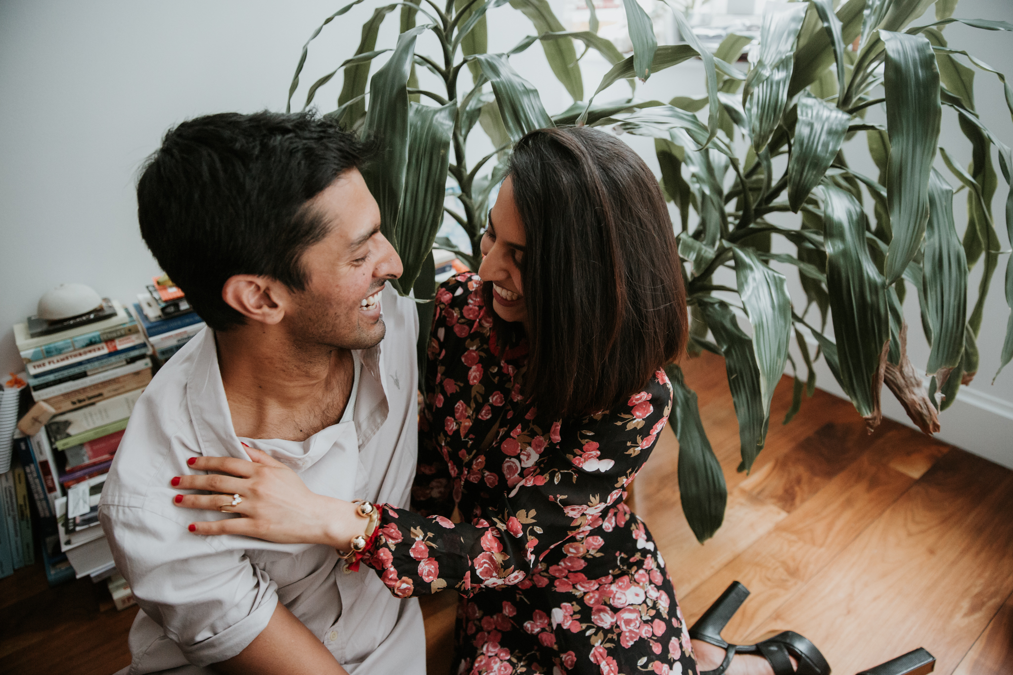 in home engagement shoot