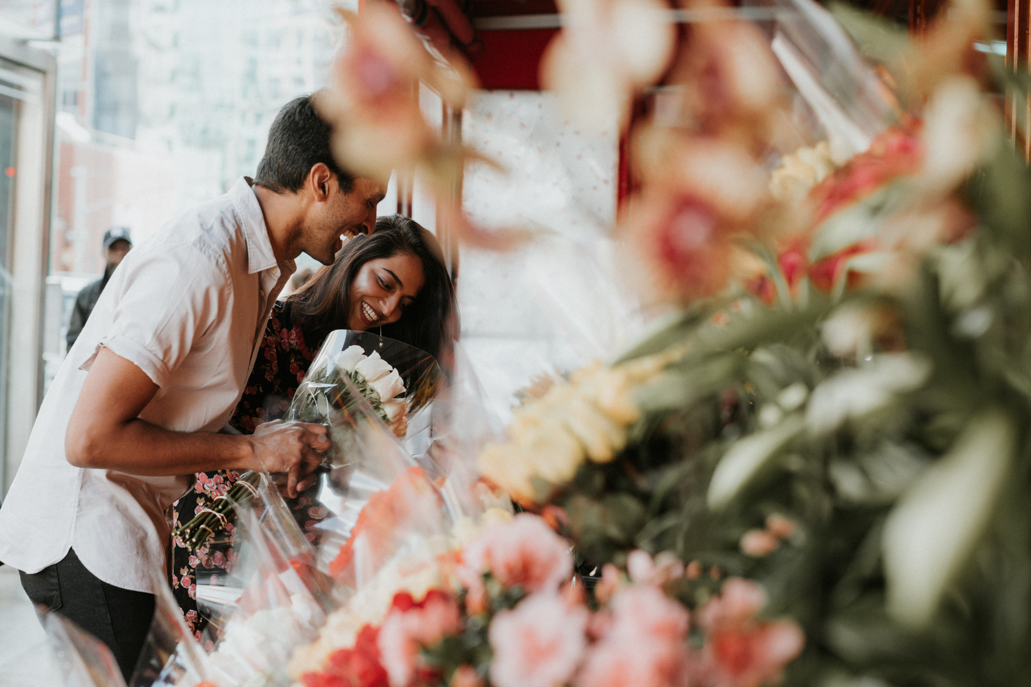 couple picking out flowers