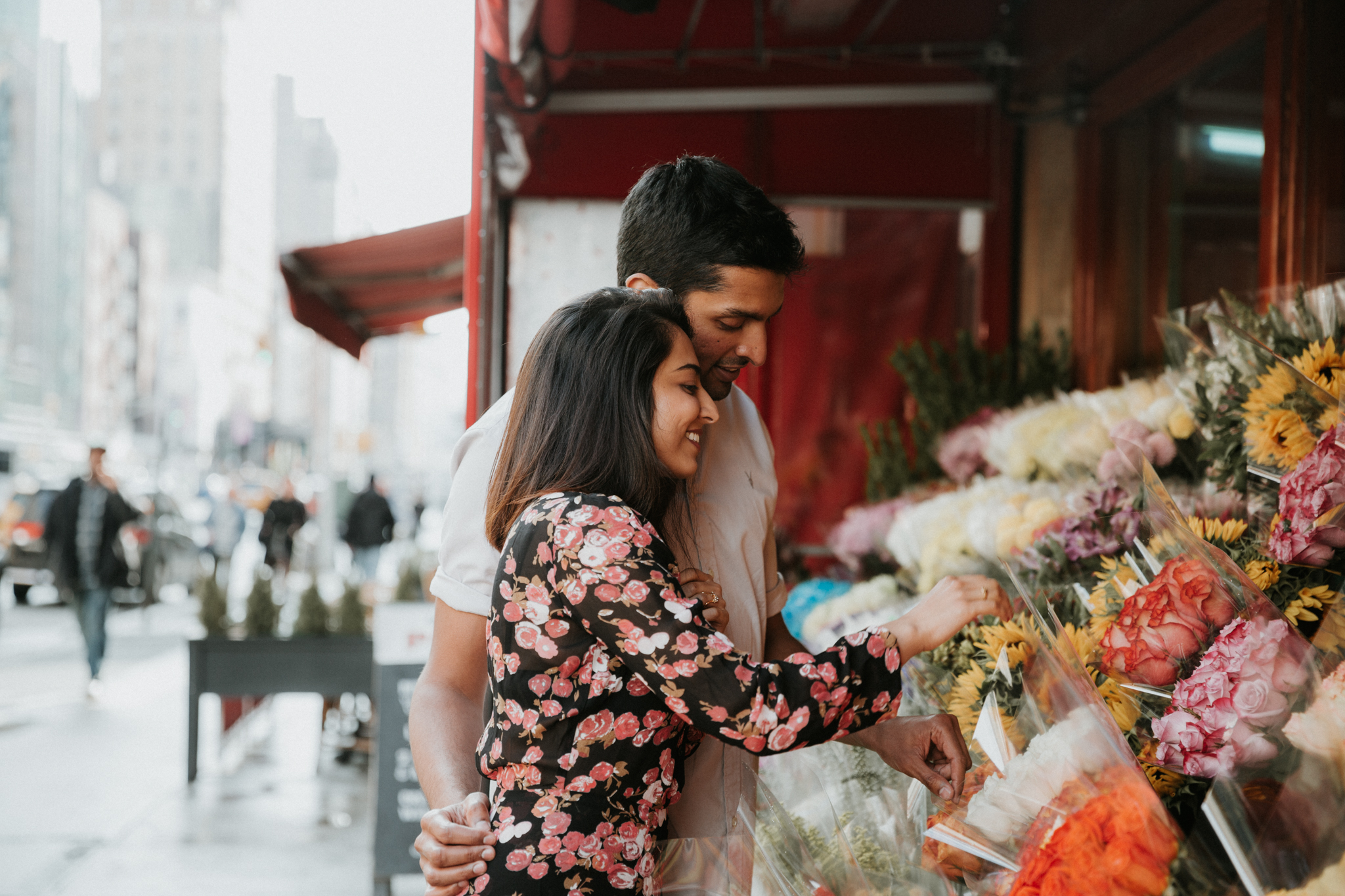 engagement shoot with flower shop