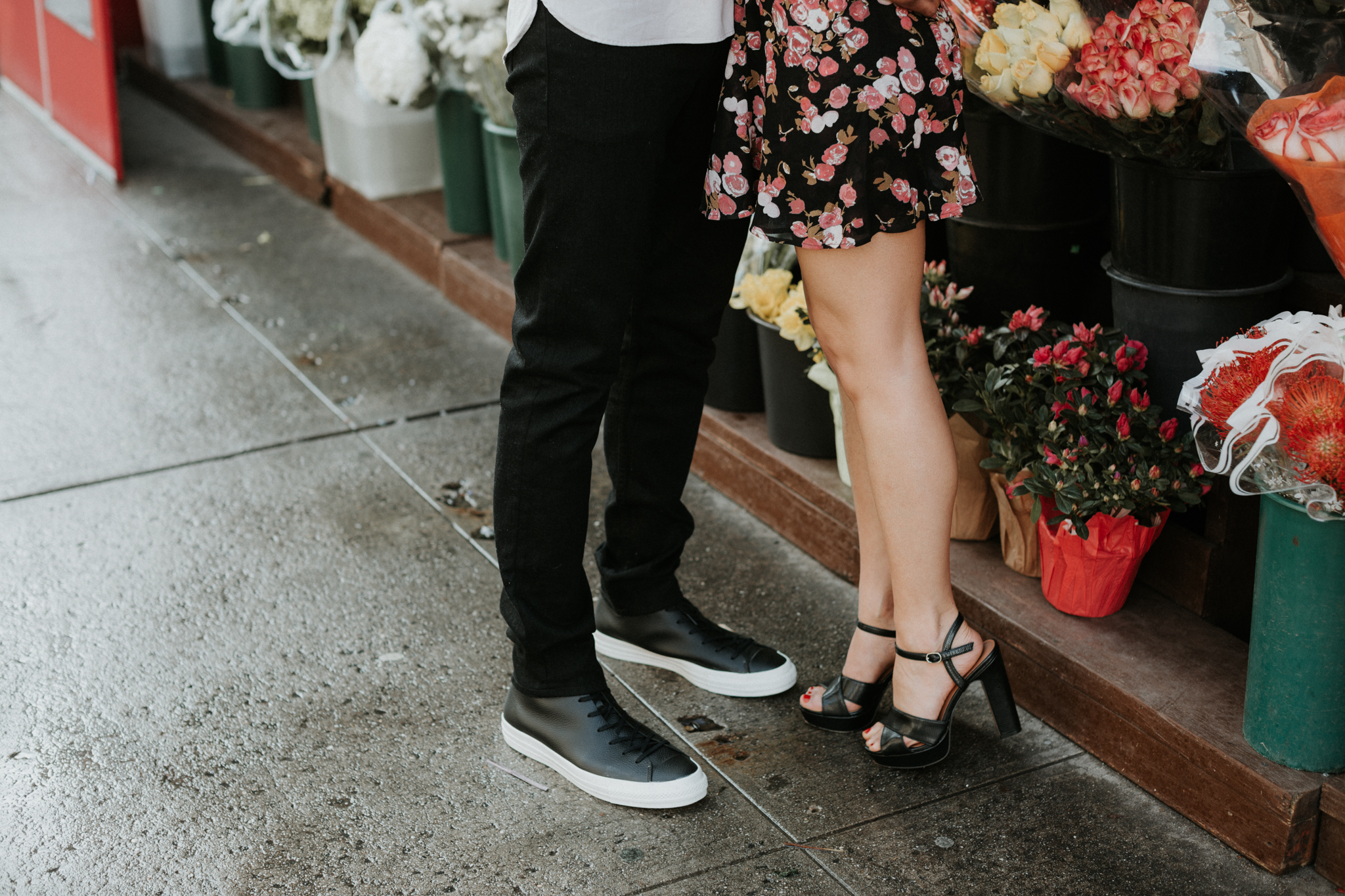 nyc engagement with flowers