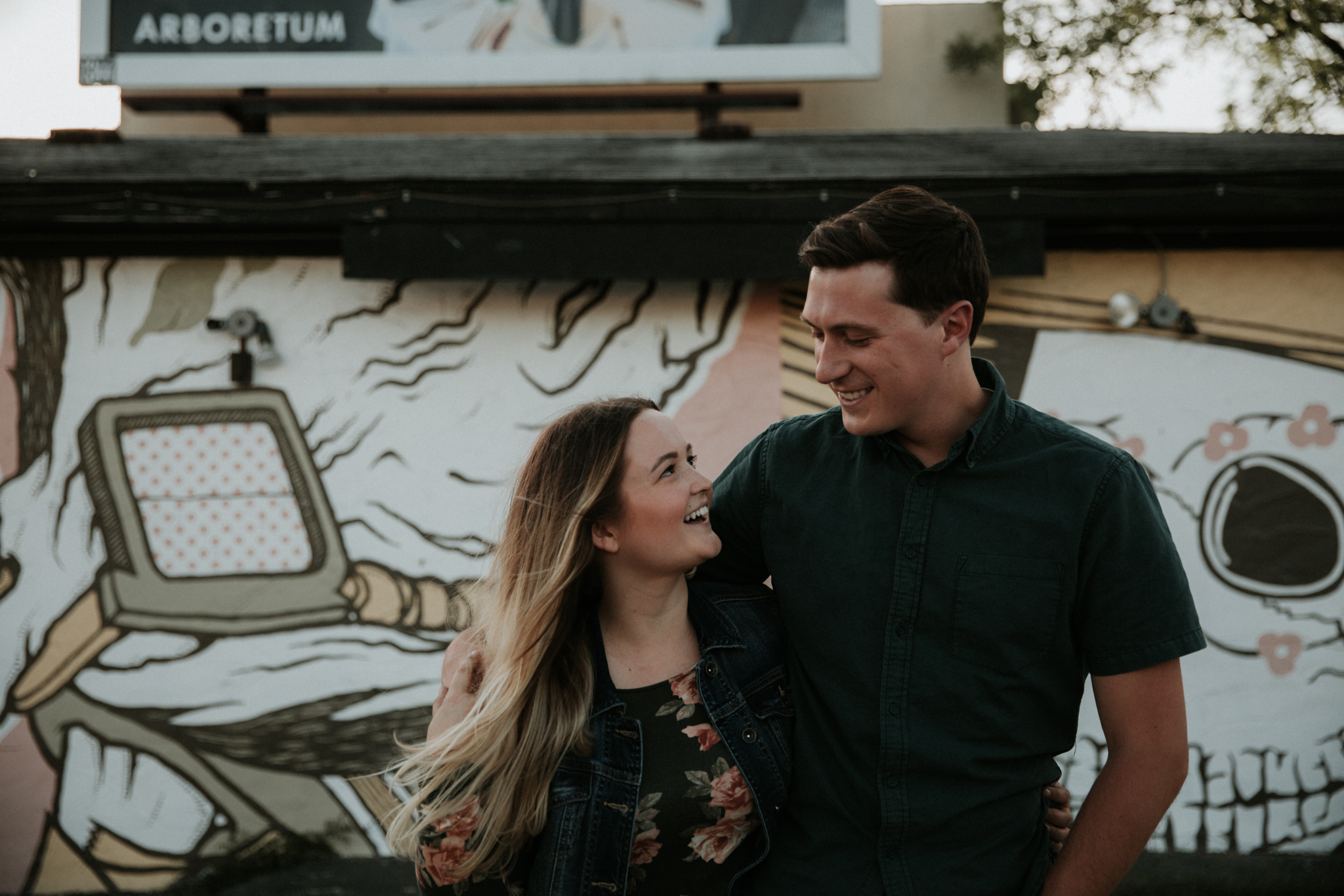 couple walking engagement session
