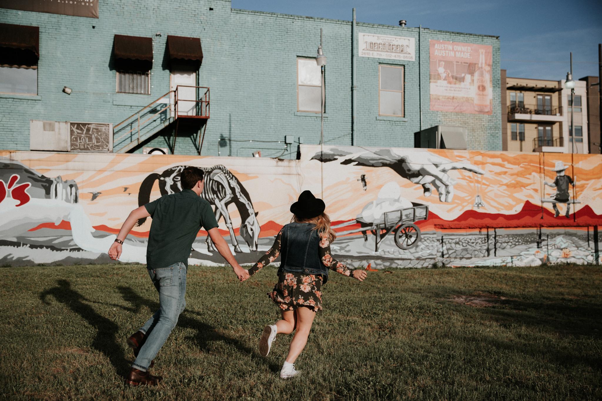 couple running away