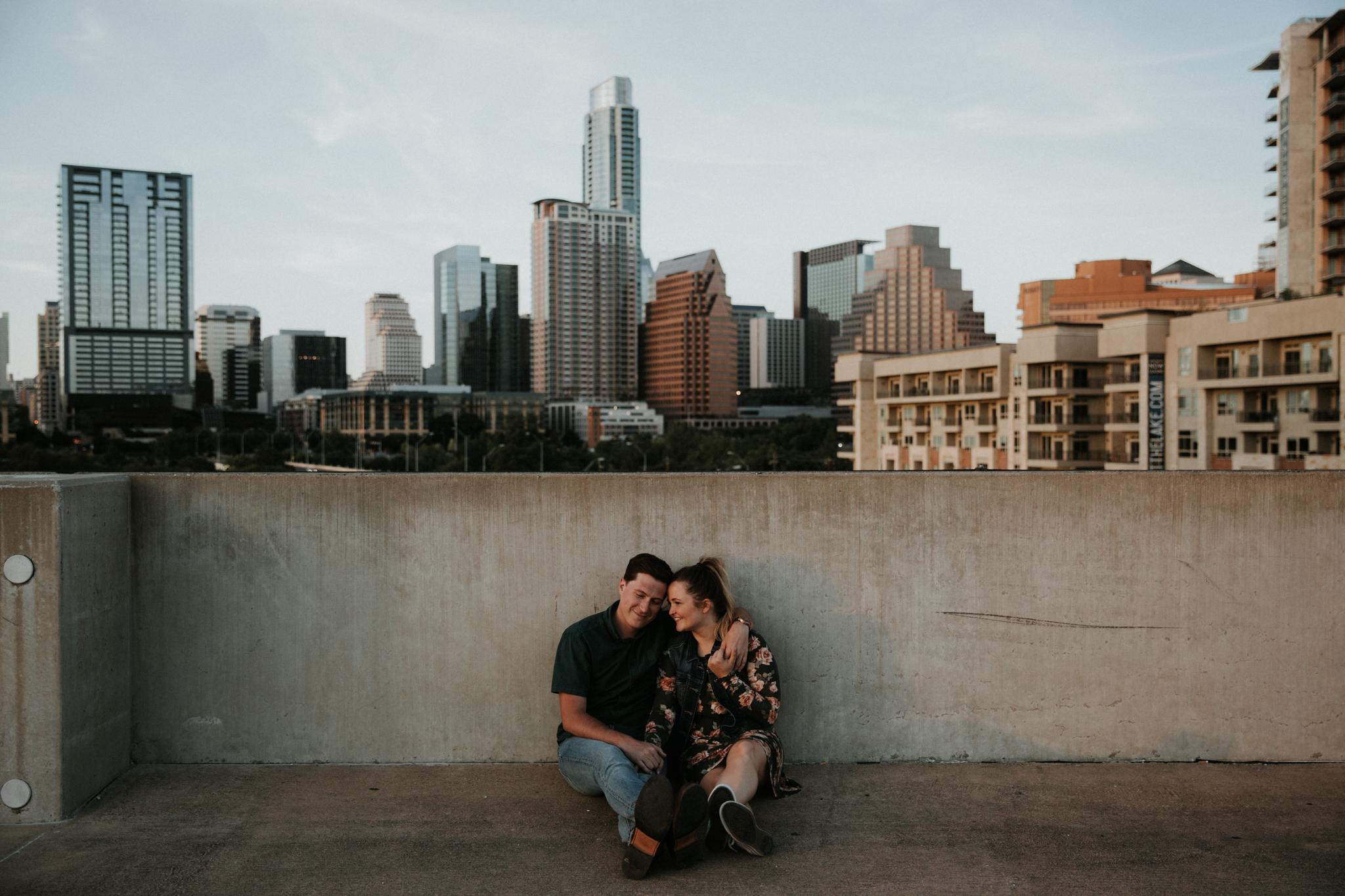 austin rooftop engagement photos