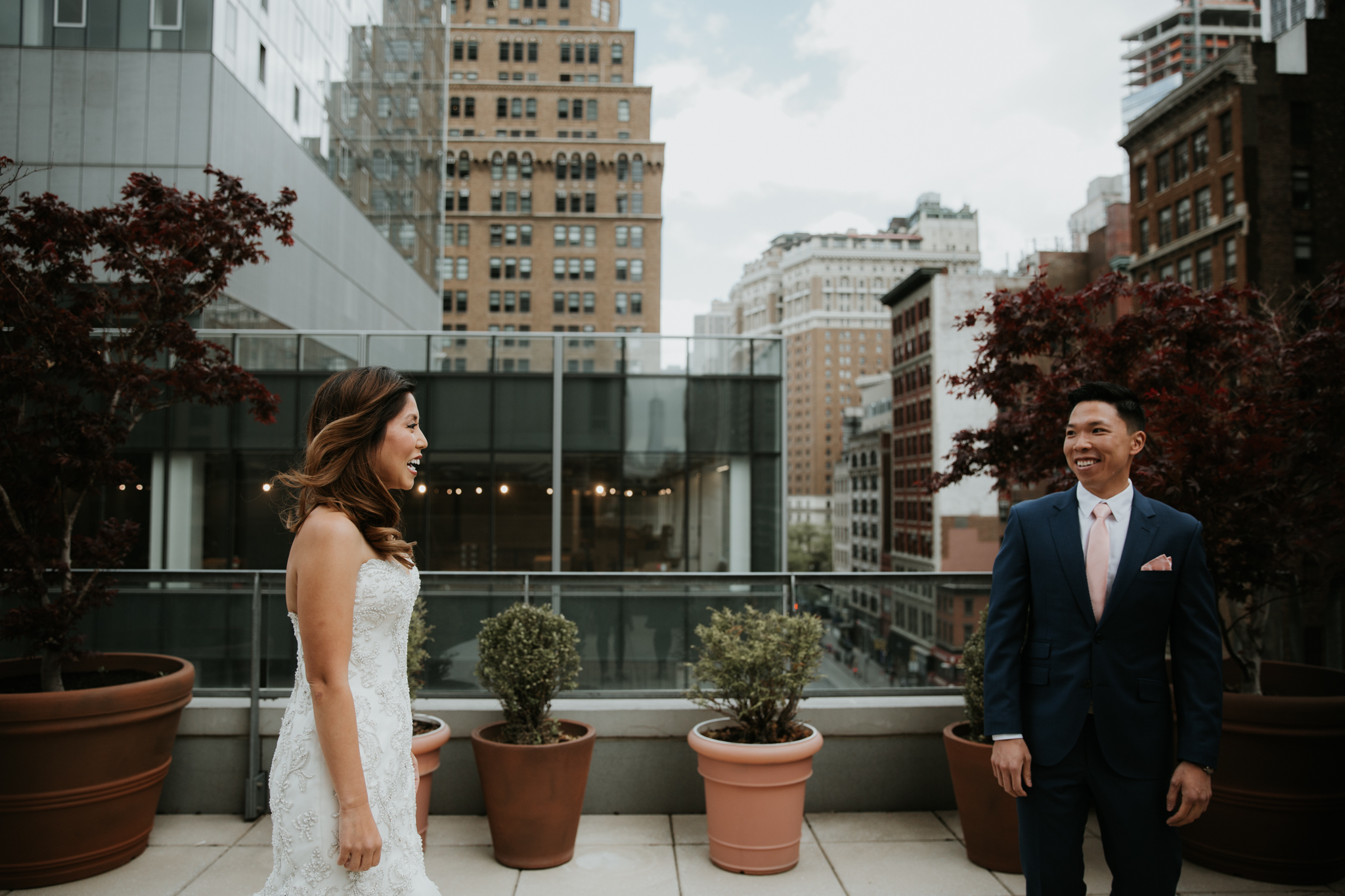 bride and groom first look nyc