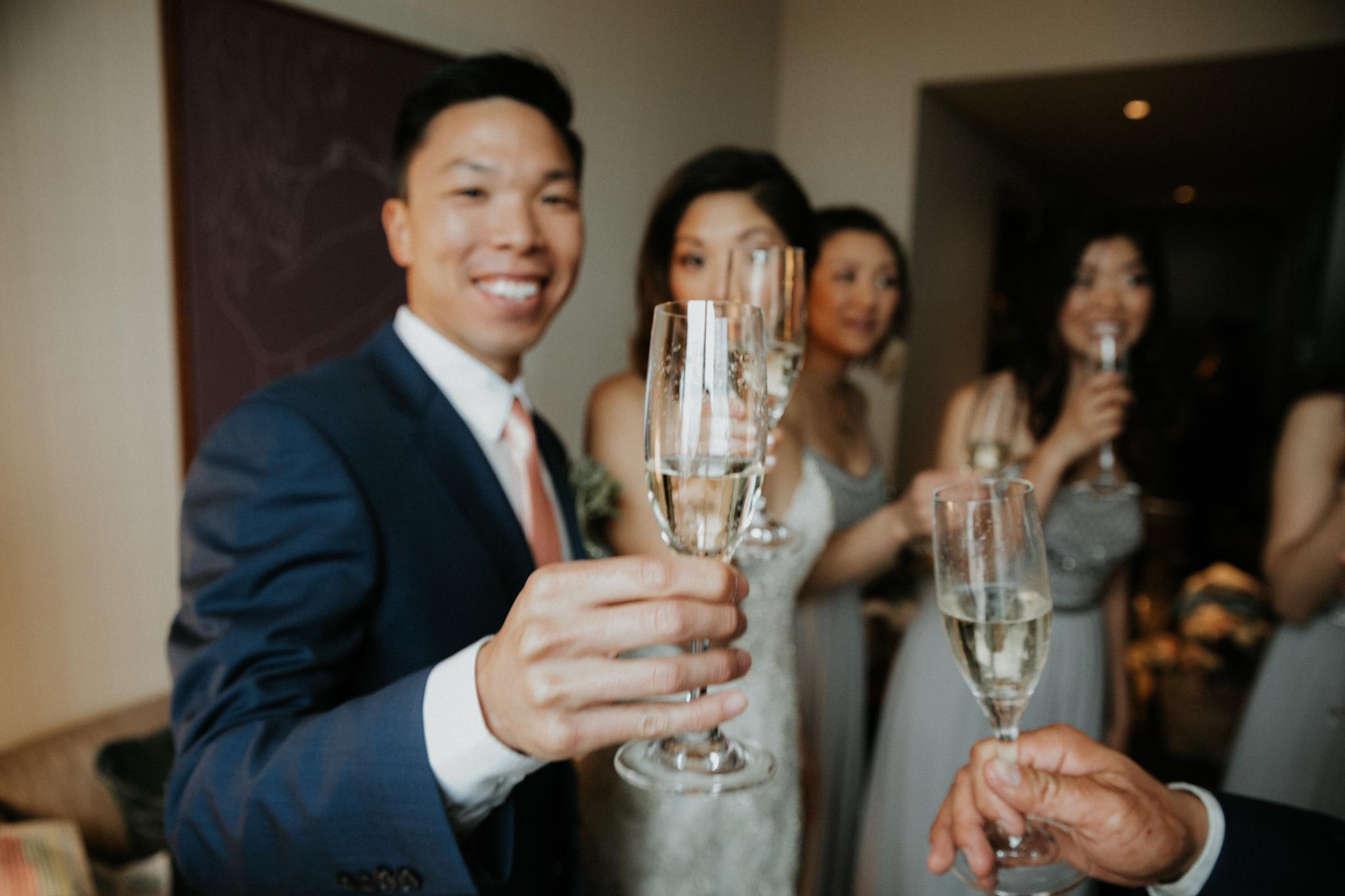cheers nyc wedding couple