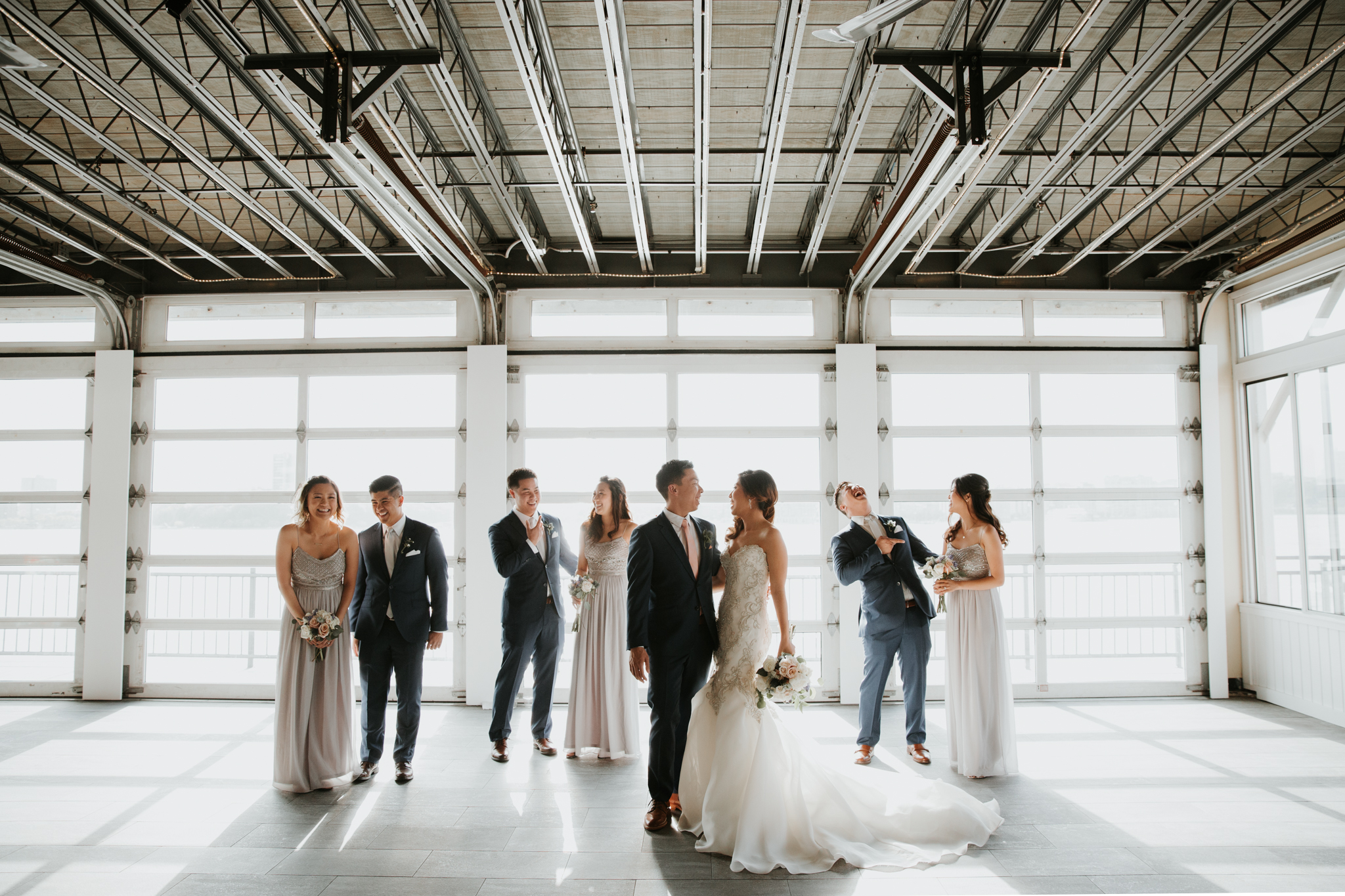 nyc bridal party sunset piers