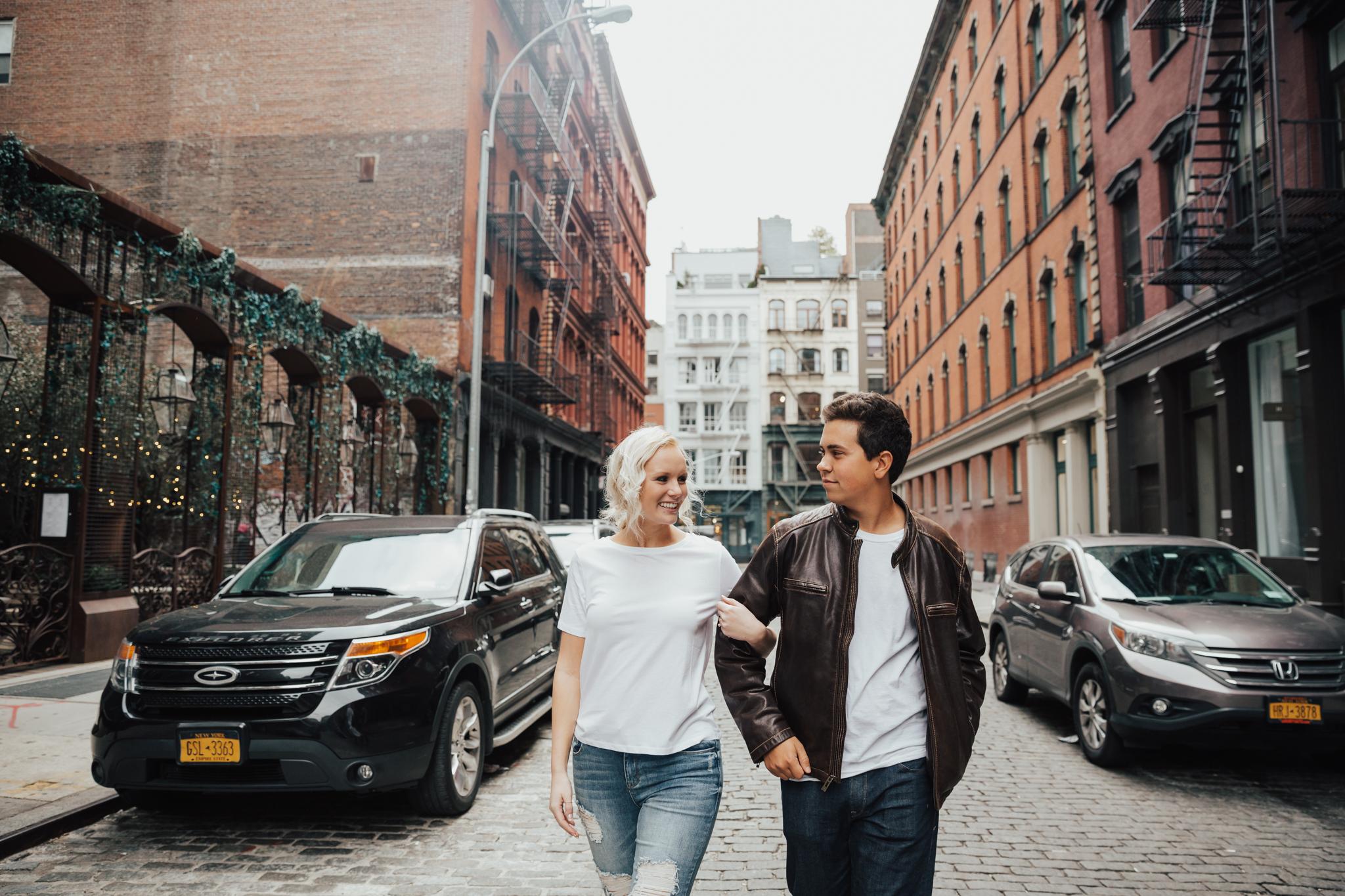 couple walking in soho