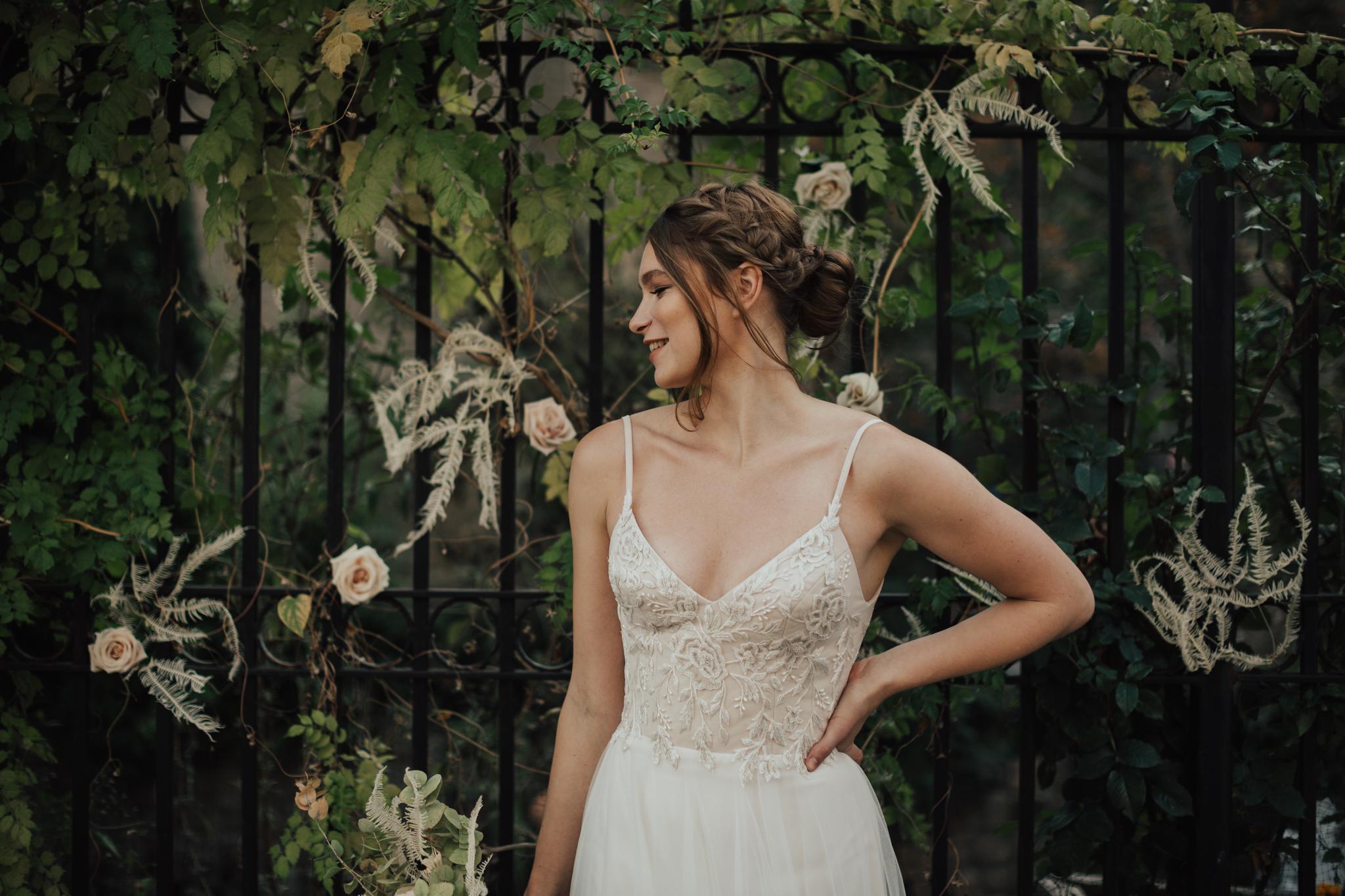 whimsical spaghetti strap wedding dress
