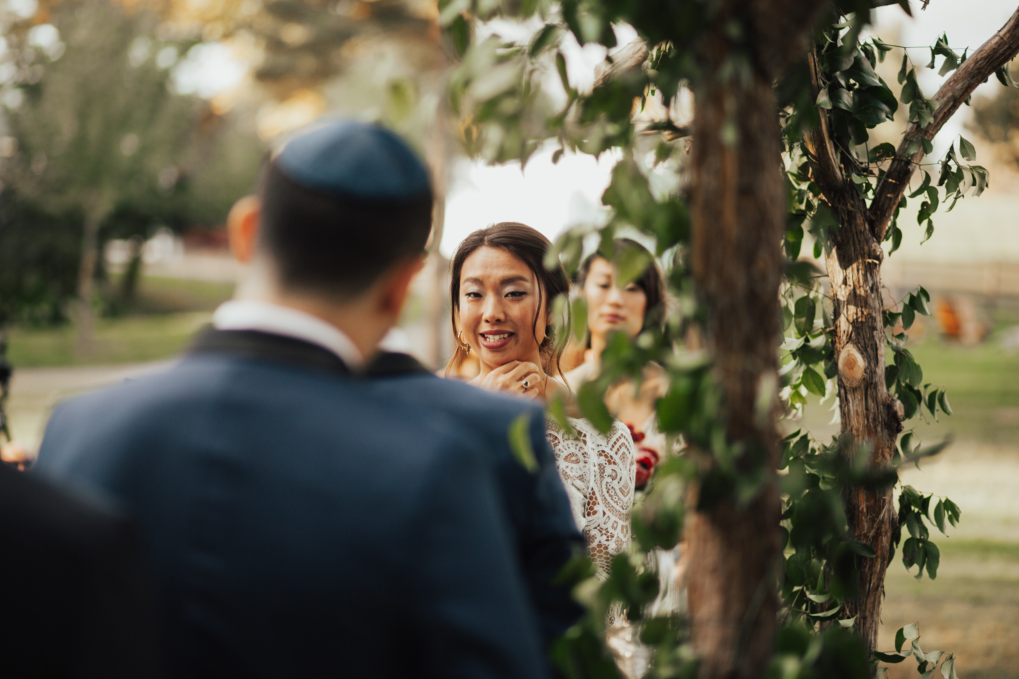 bride tearing during ceremony