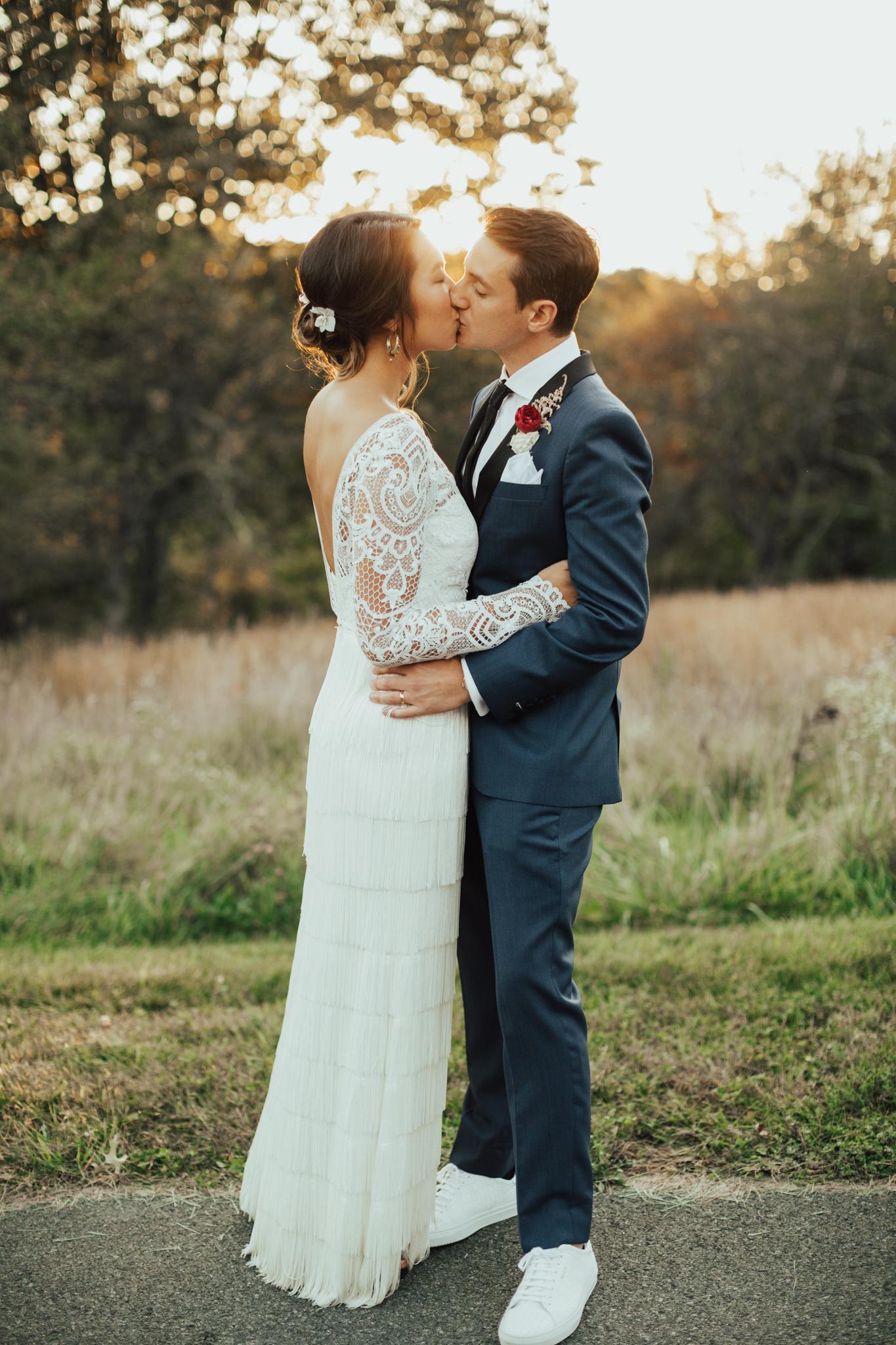 golden hour bride and groom portraits