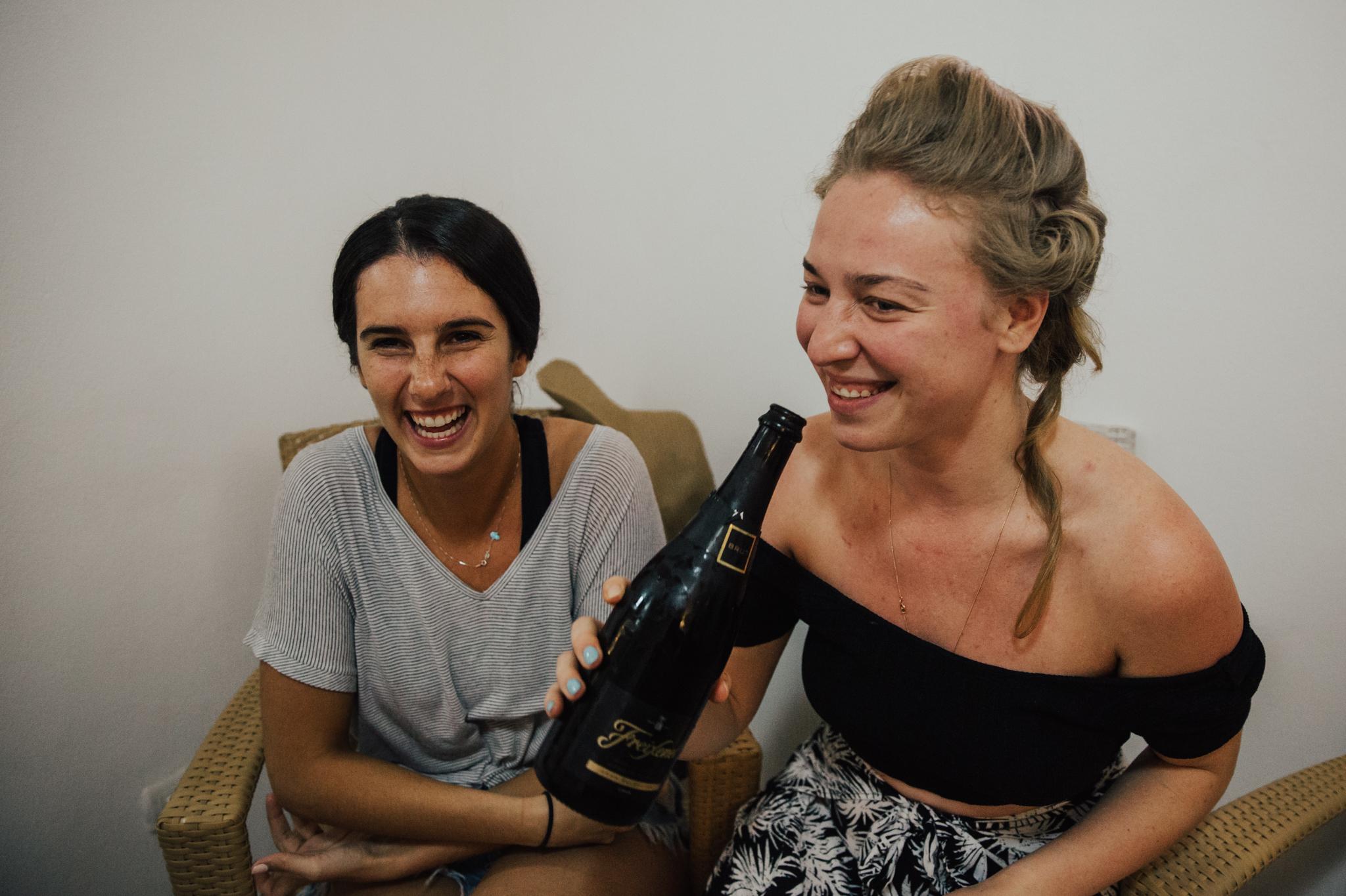 bridesmaids drinking
