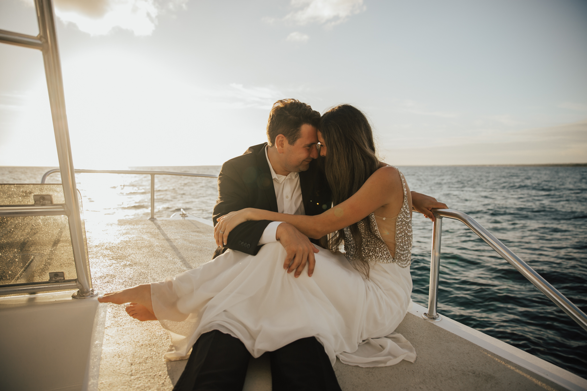 sunset wedding on a boat