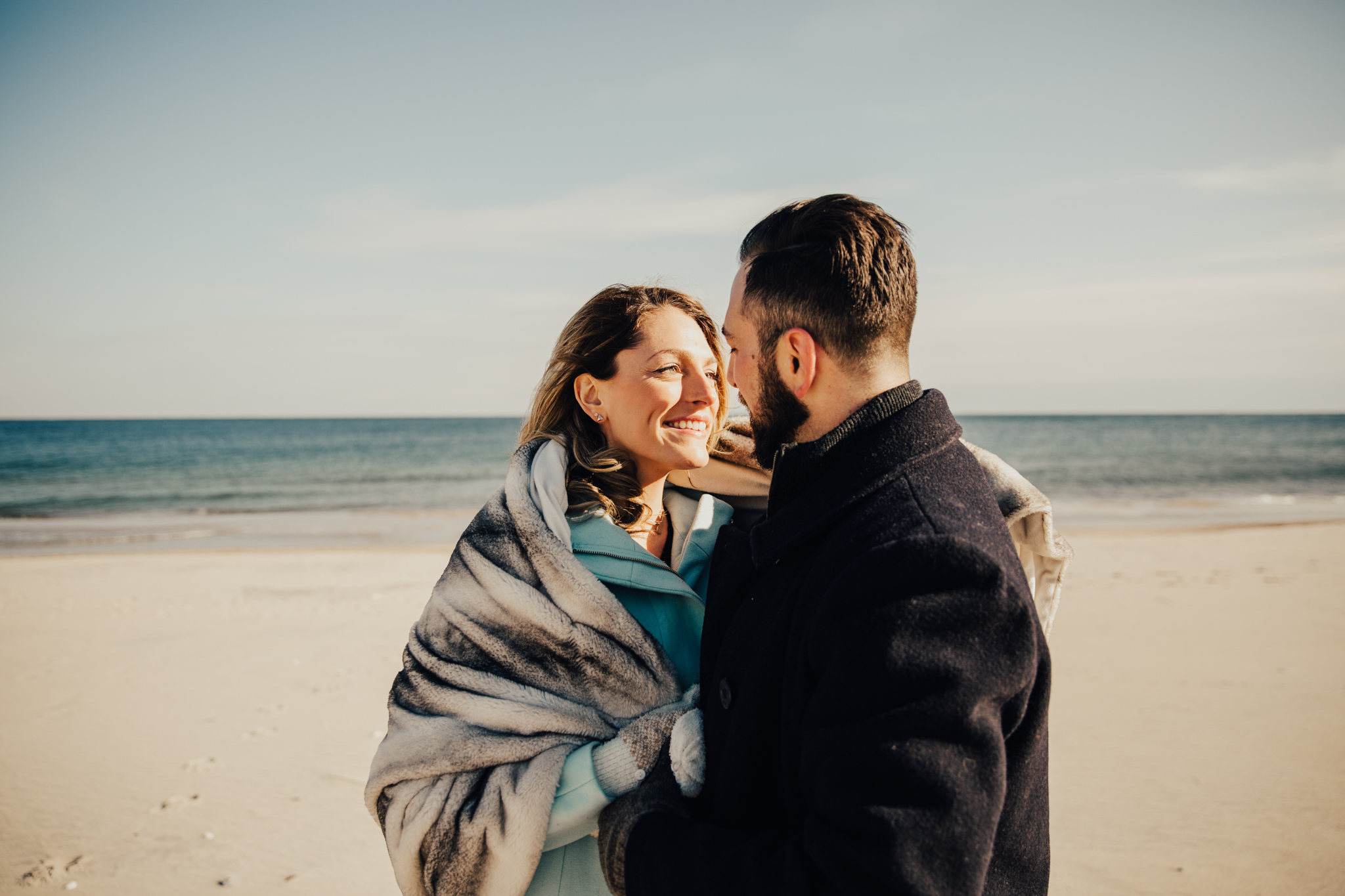 couple on the beach engagement photography