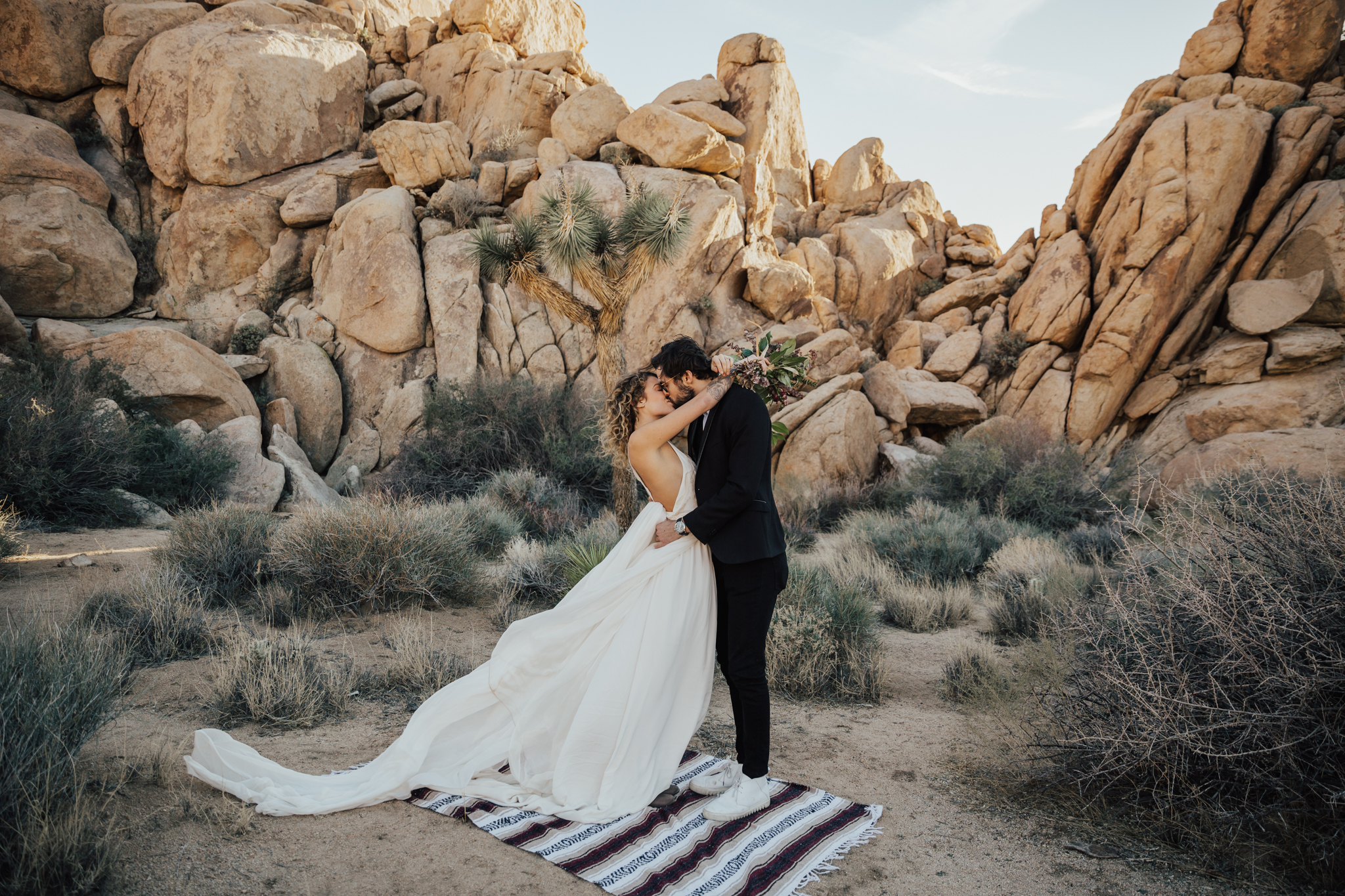 Desert bride and groom