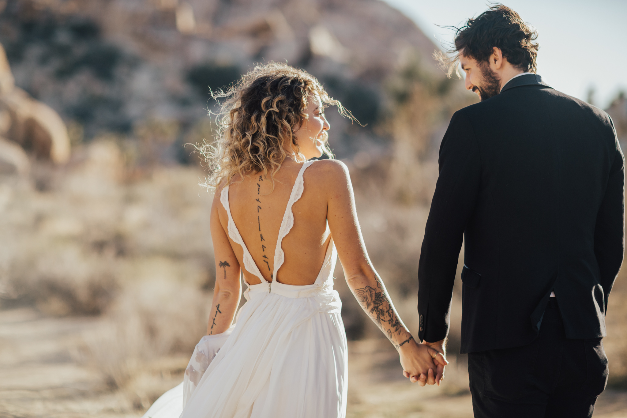 Sunset elopement in Joshua Tree
