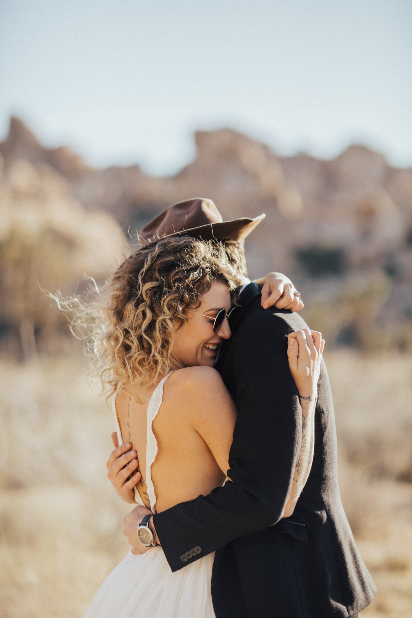 Moody elopement wedding photography in desert