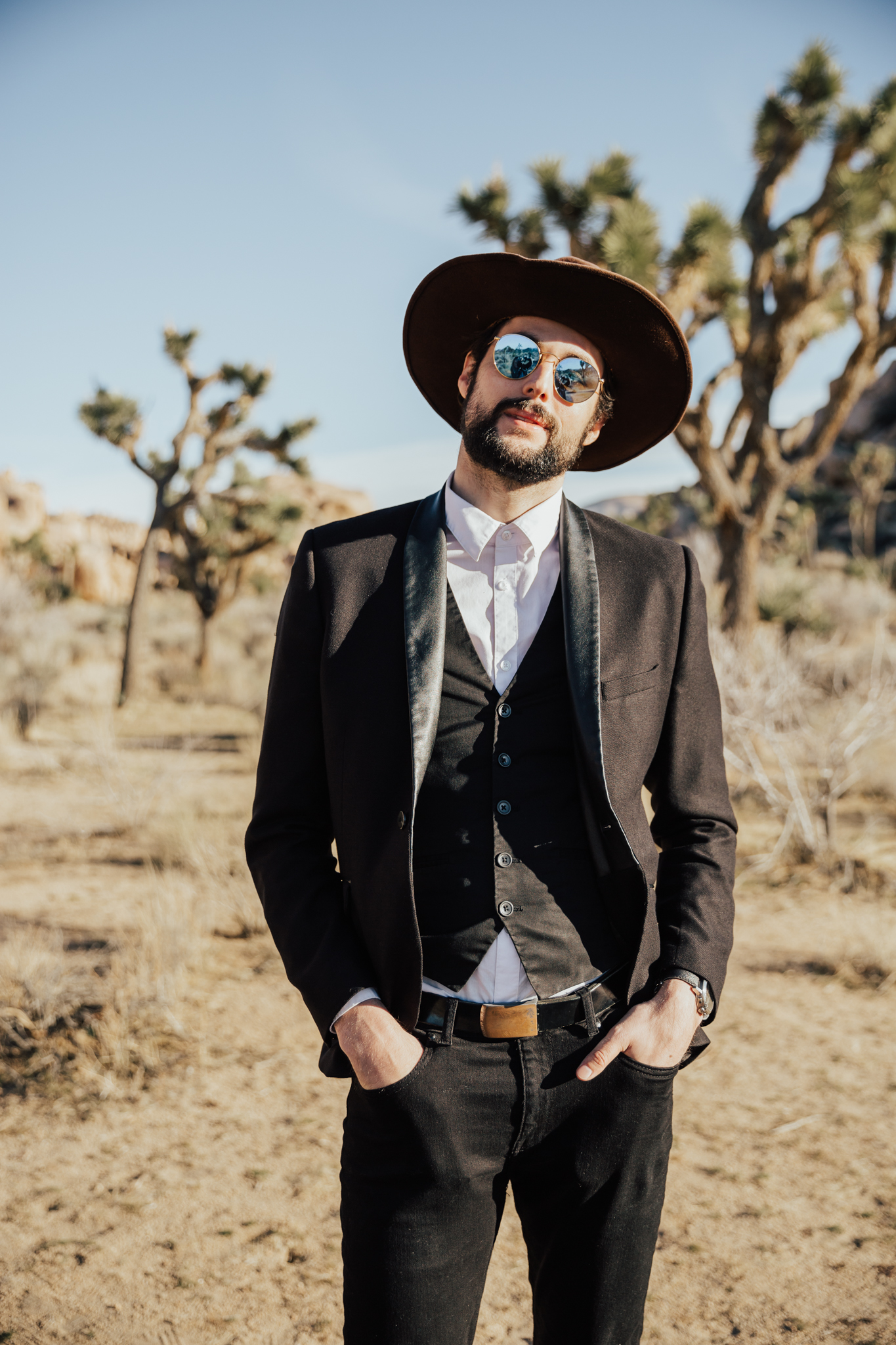 hipster groom desert wedding