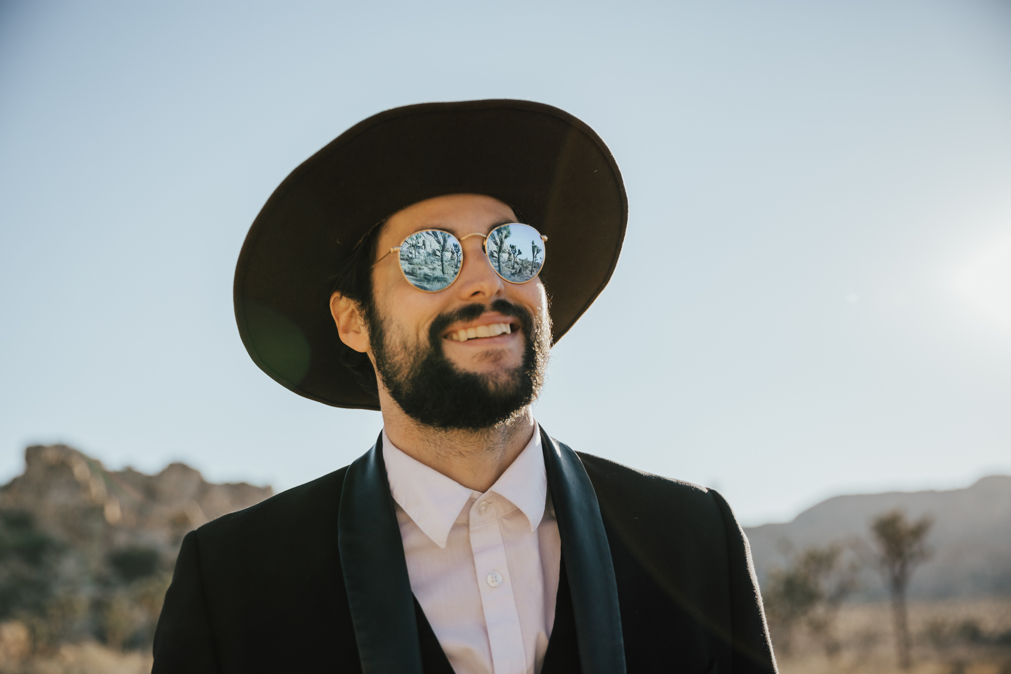 hipster groom joshua tree