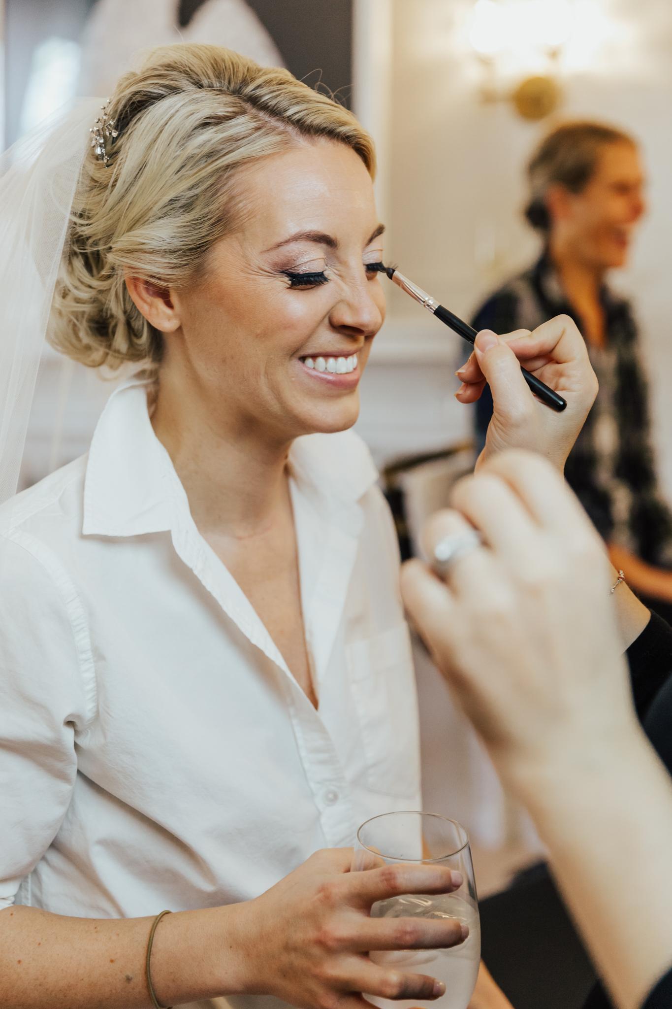 candid getting ready wedding photos