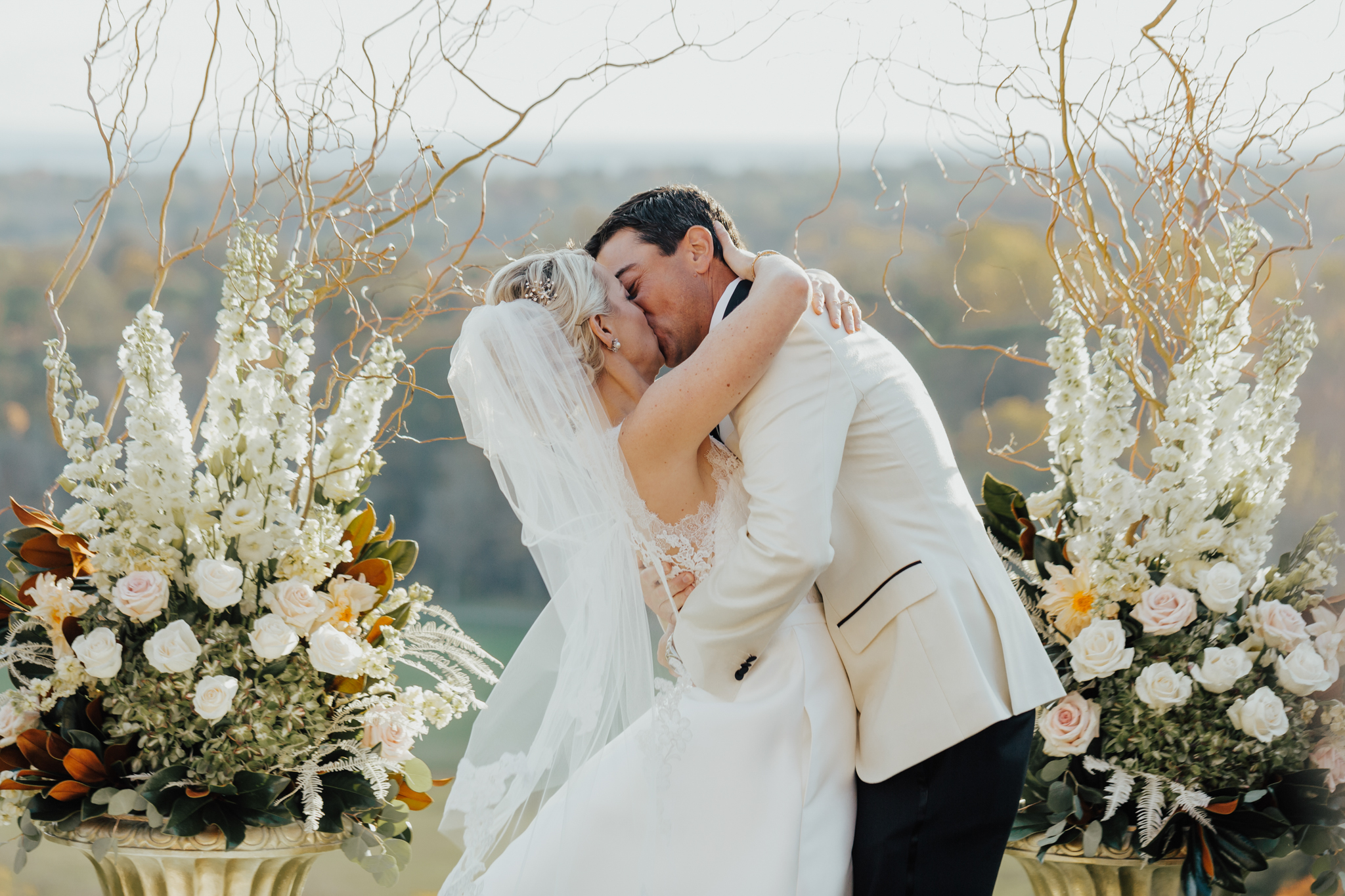 couples first kiss wedding