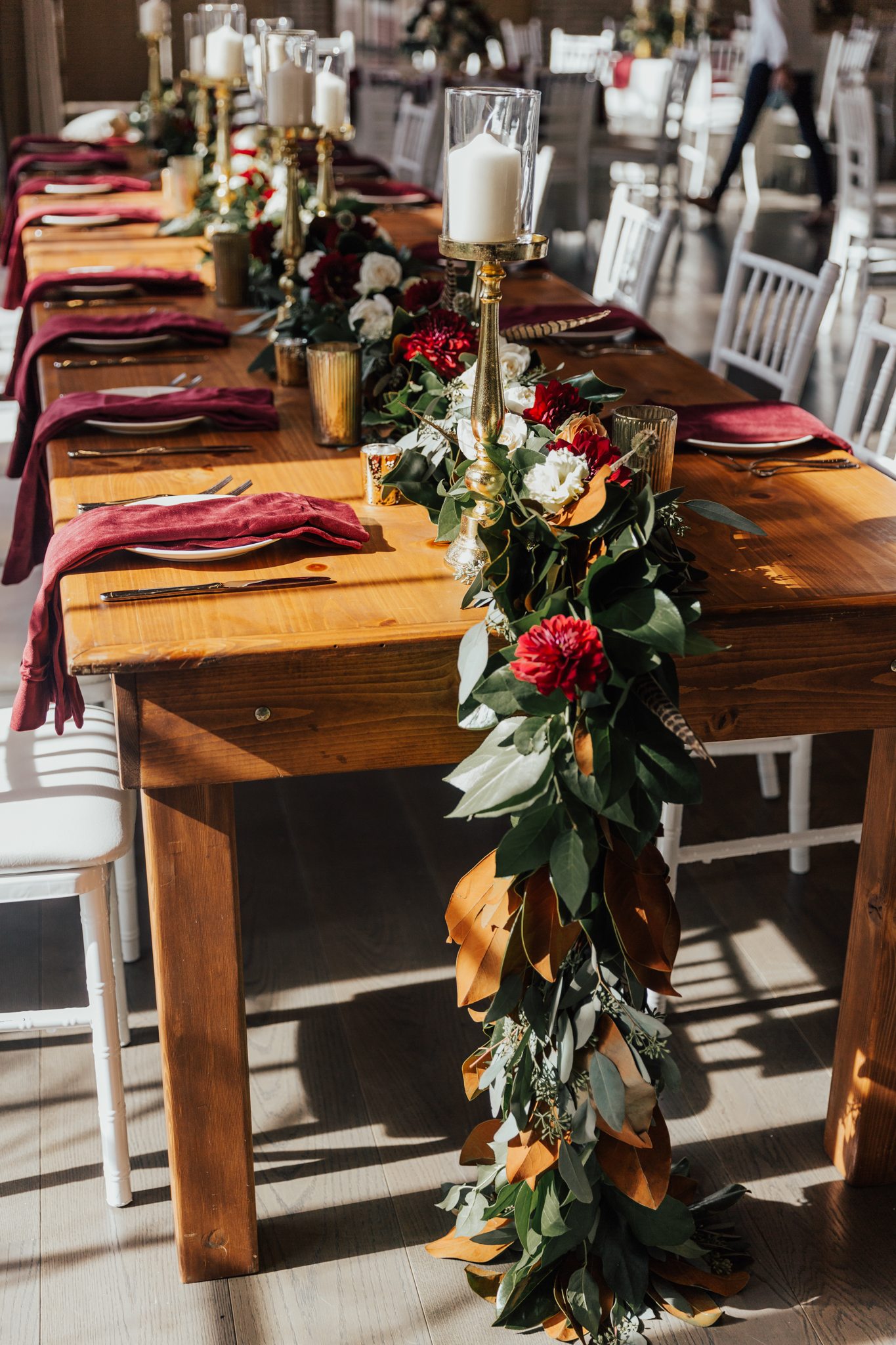 lush reds and green wedding flowers