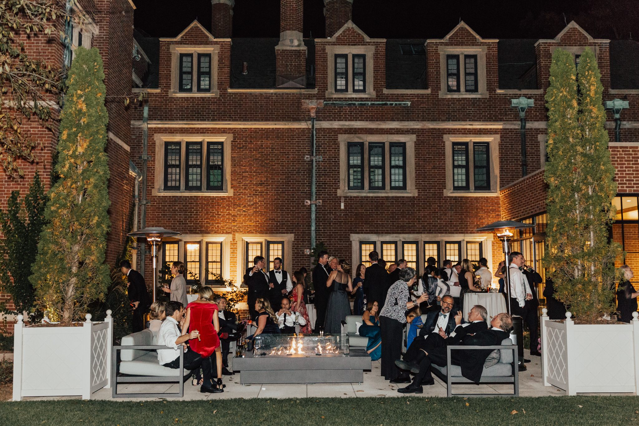 evening outdoor wedding reception ny