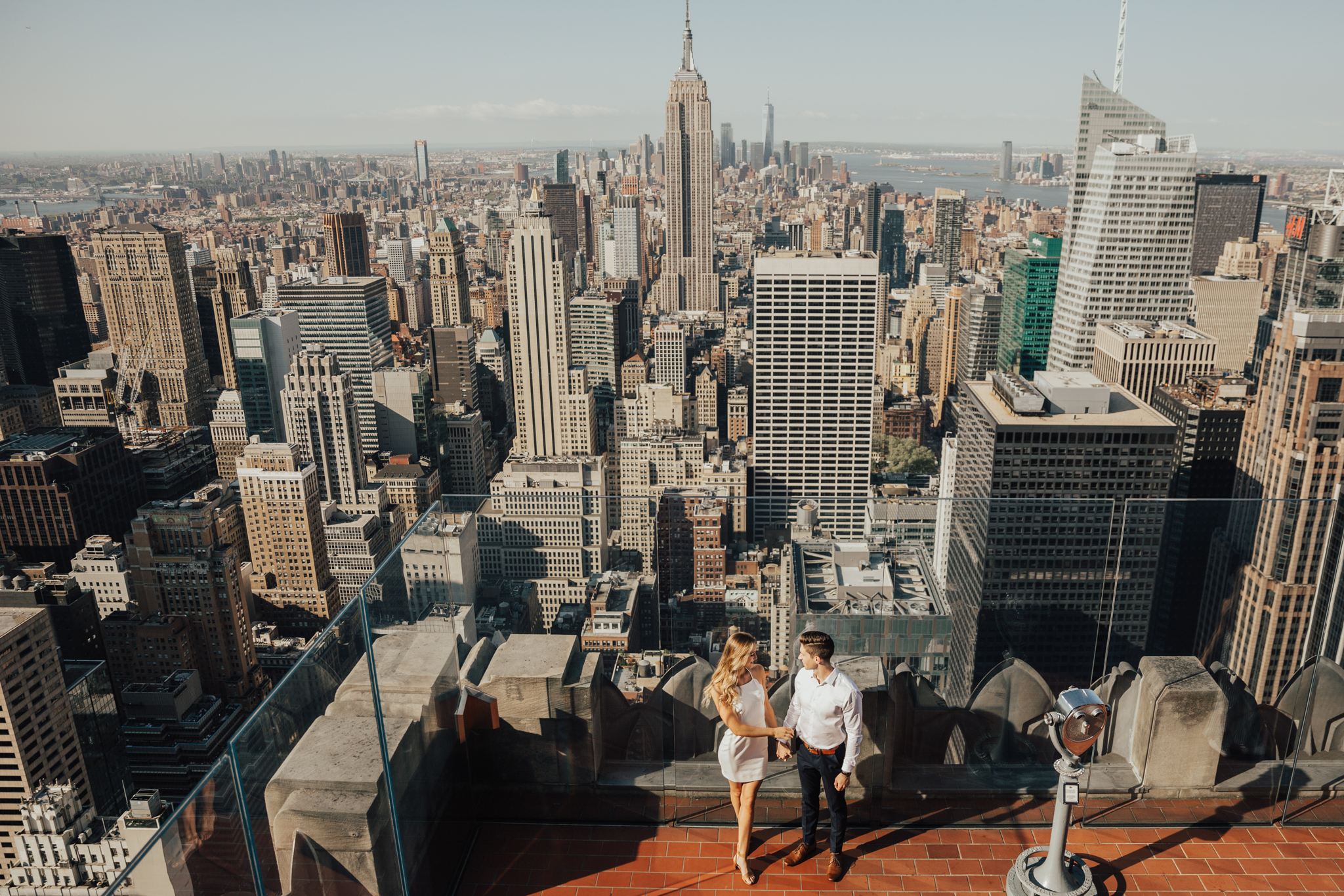 nyc rooftop engagement photography