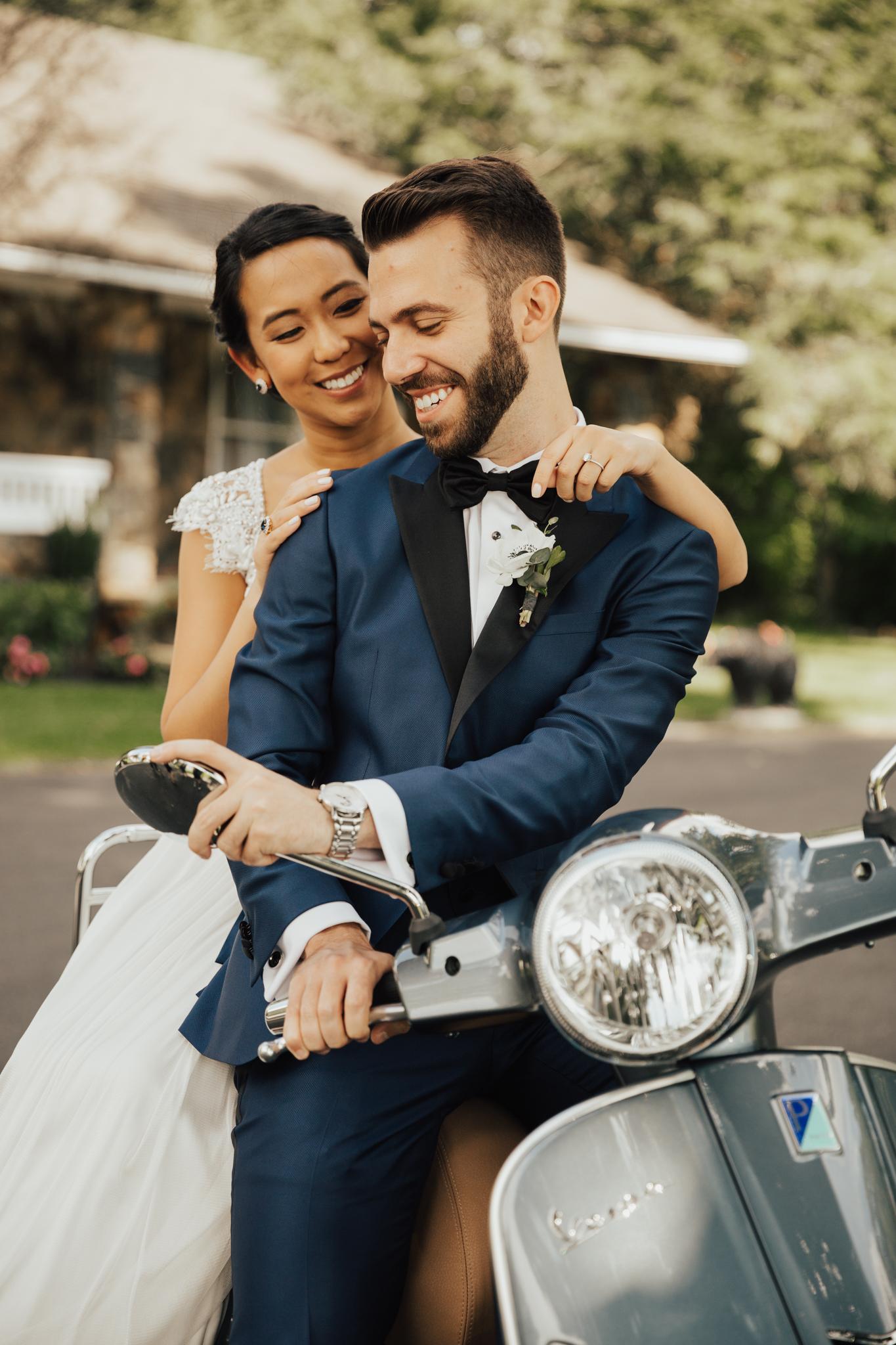 wedding couple on vespa