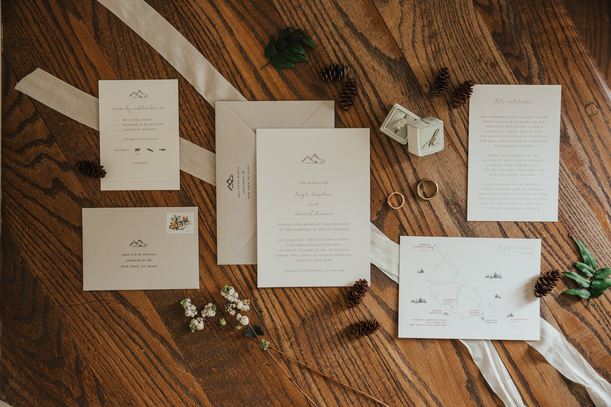 mountain wedding invitation suite